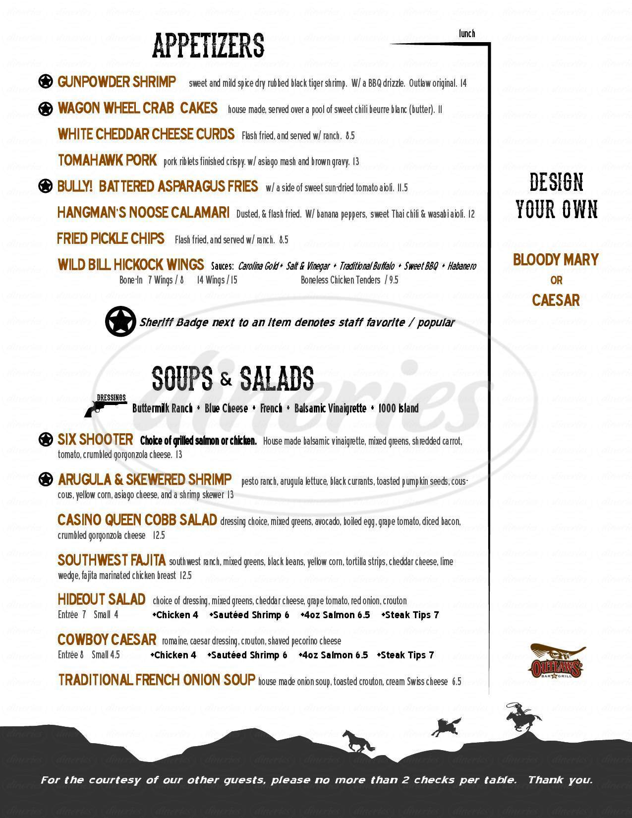 menu for Outlaw's Bar & Grill