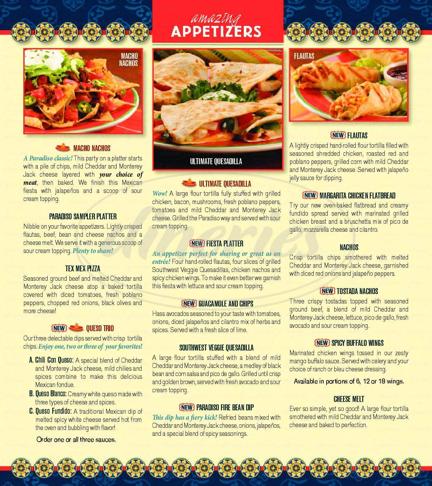 menu for Paradiso Mexican Restaurant