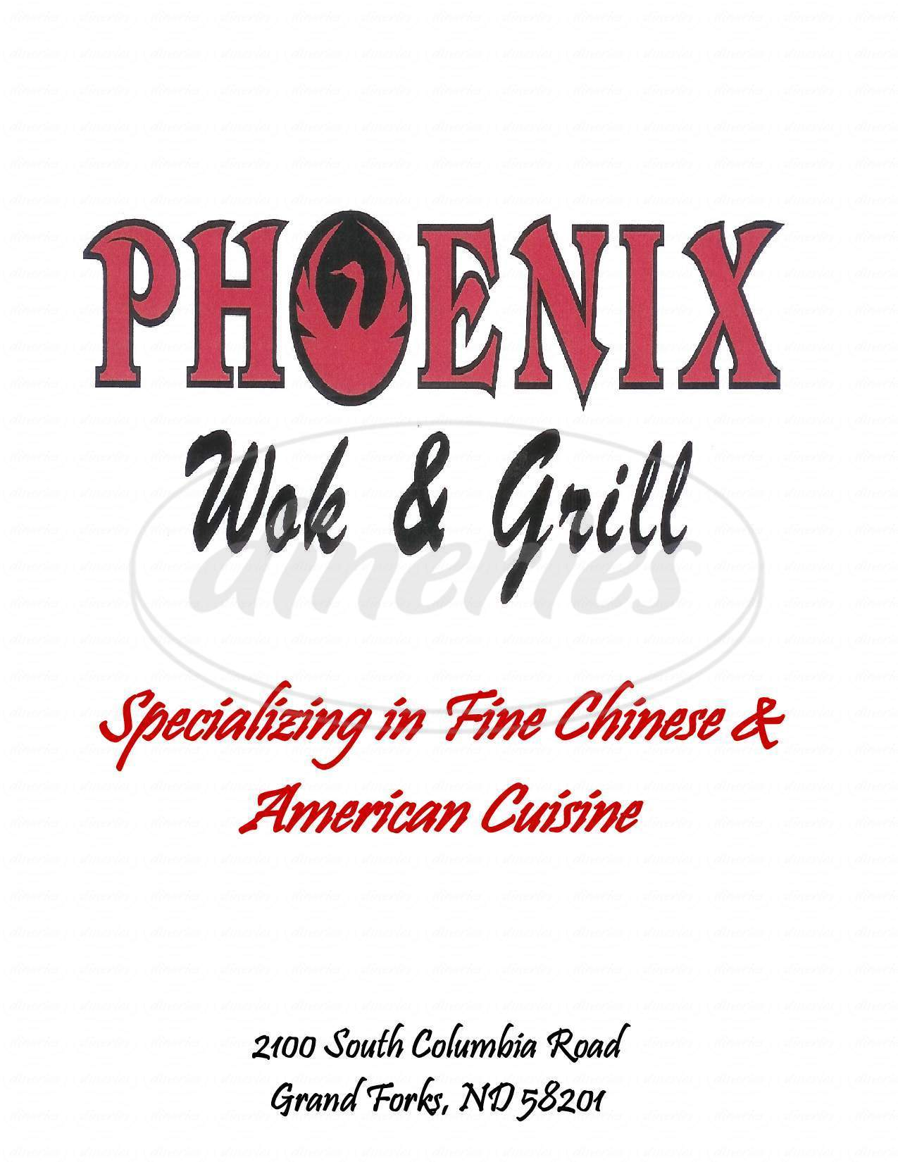 menu for Phoenix Wok Grill