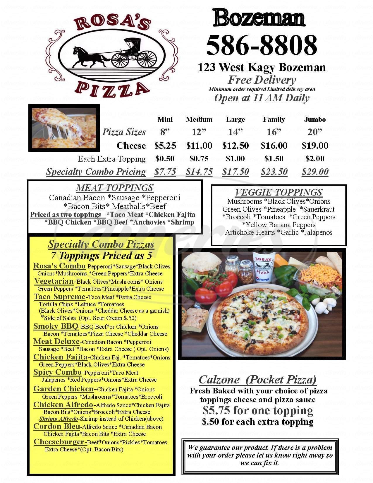 menu for Rosa's Pizza