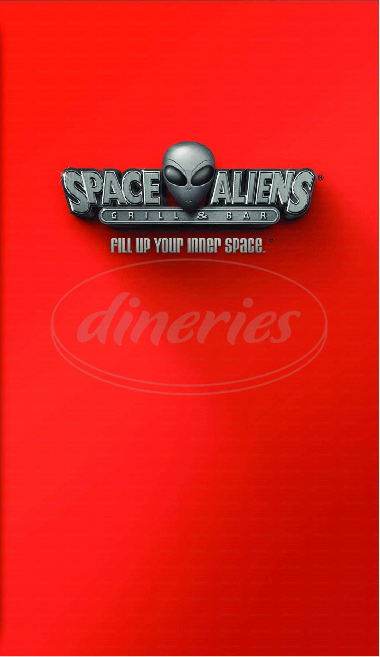 menu for Space Aliens Grill & Bar