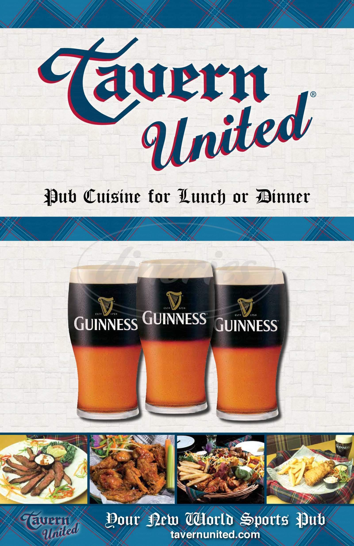 menu for Tavern United