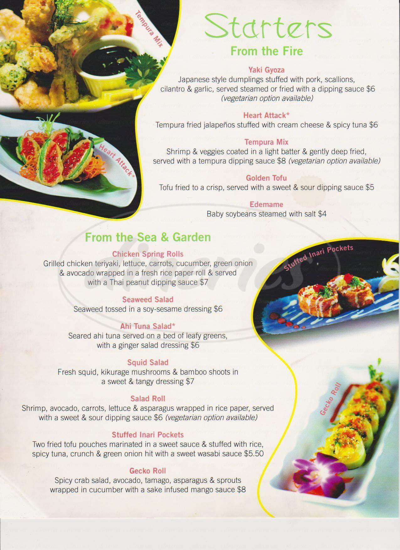 menu for Wasabi