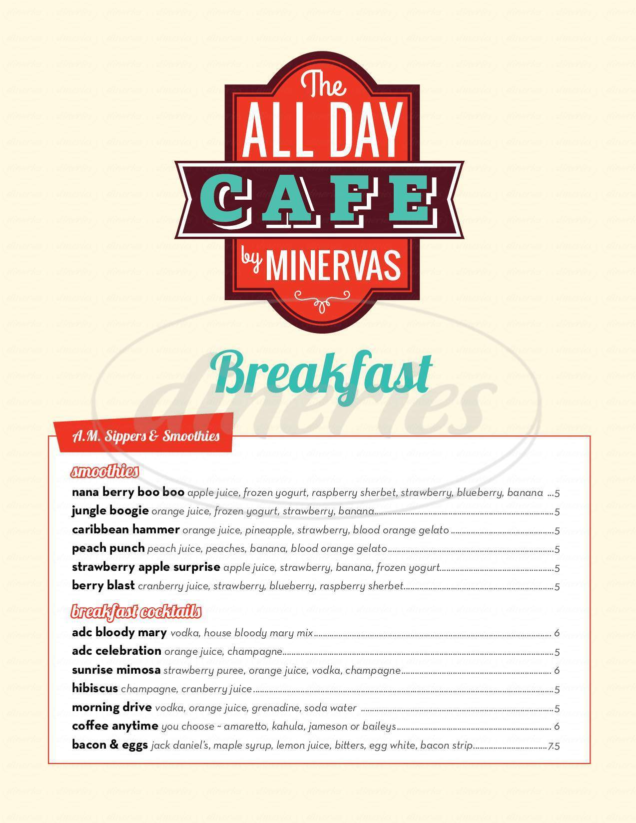 menu for All Day Cafe