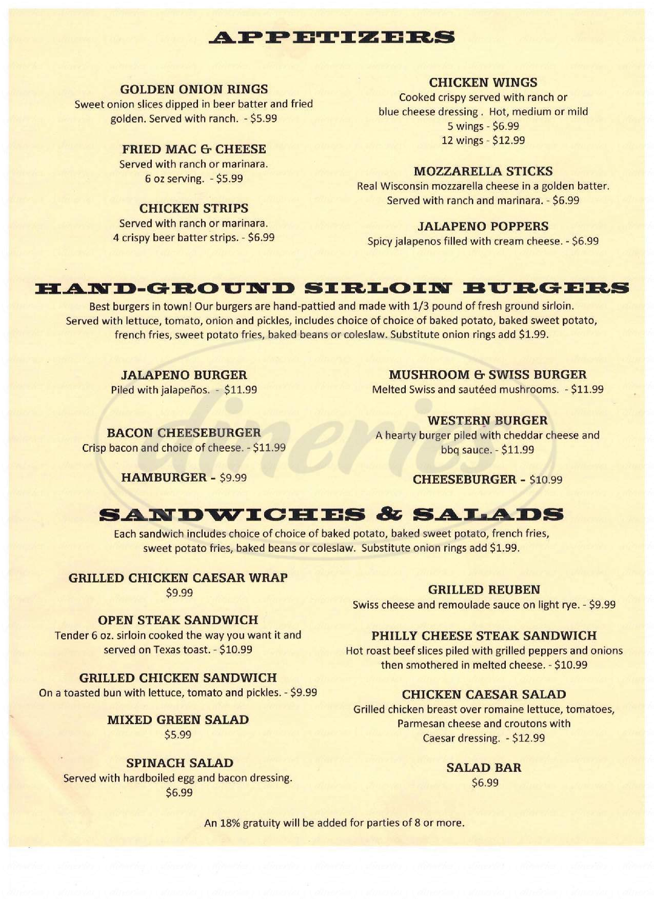 menu for B B Cody's Steakhouse