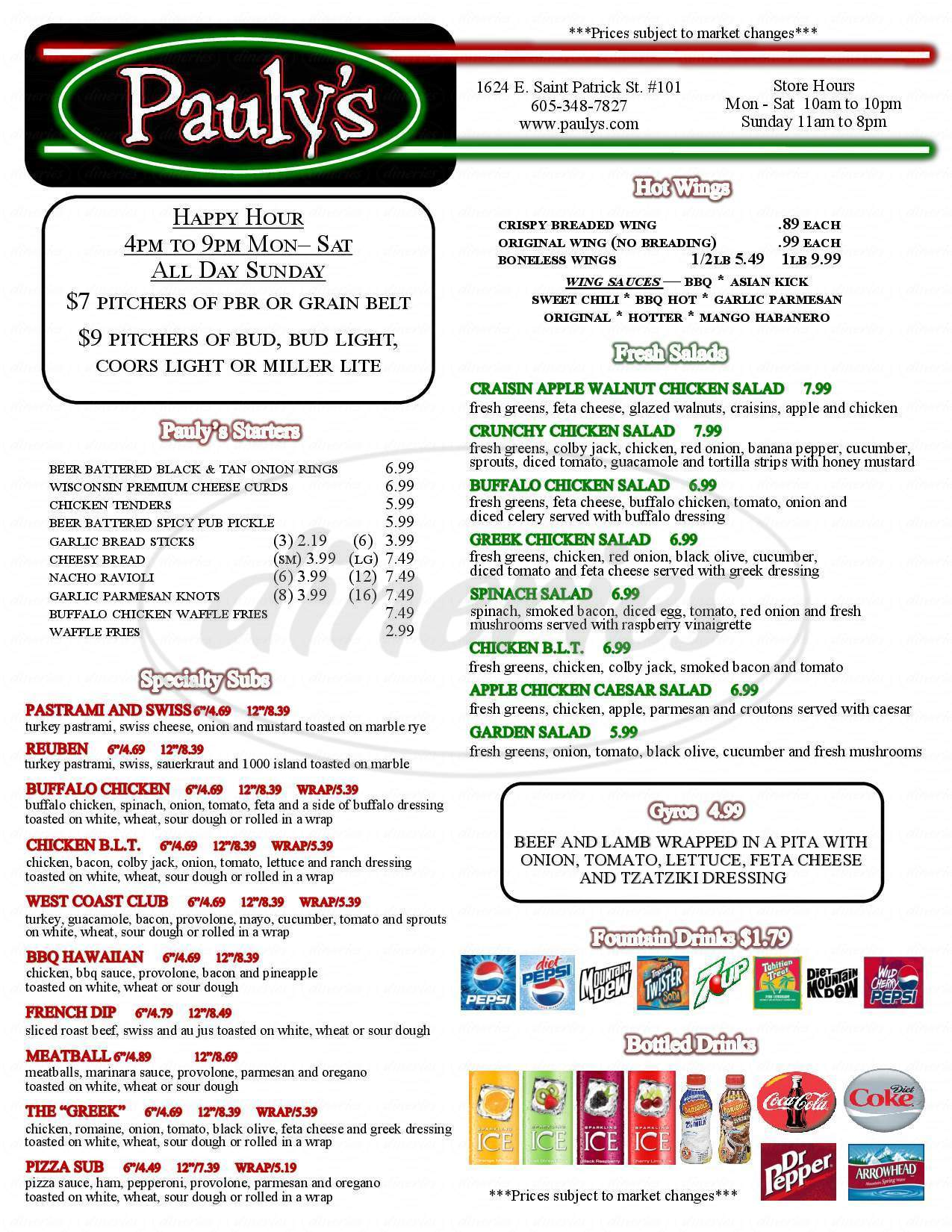 menu for Pauly's Pizzeria and Sub Co