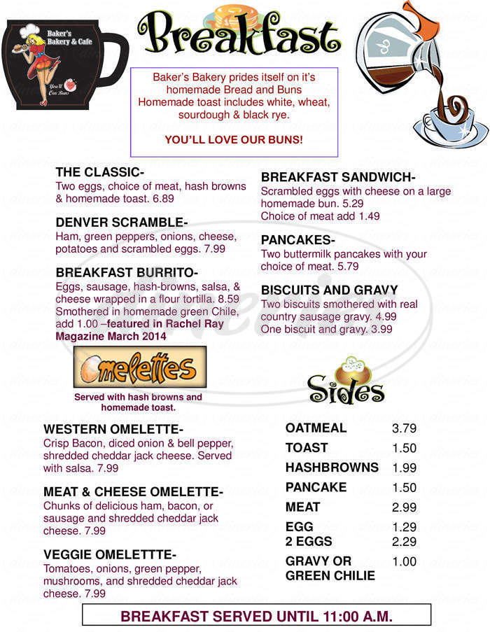 menu for Baker's Bakery & Cafe