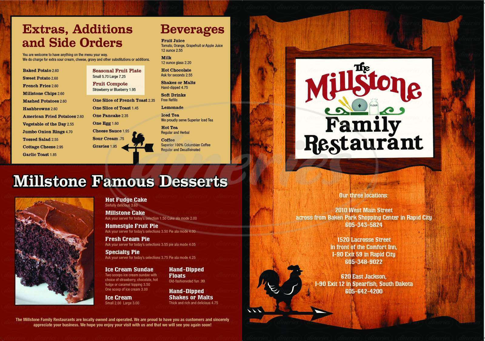 menu for The Millstone Family Restaurant