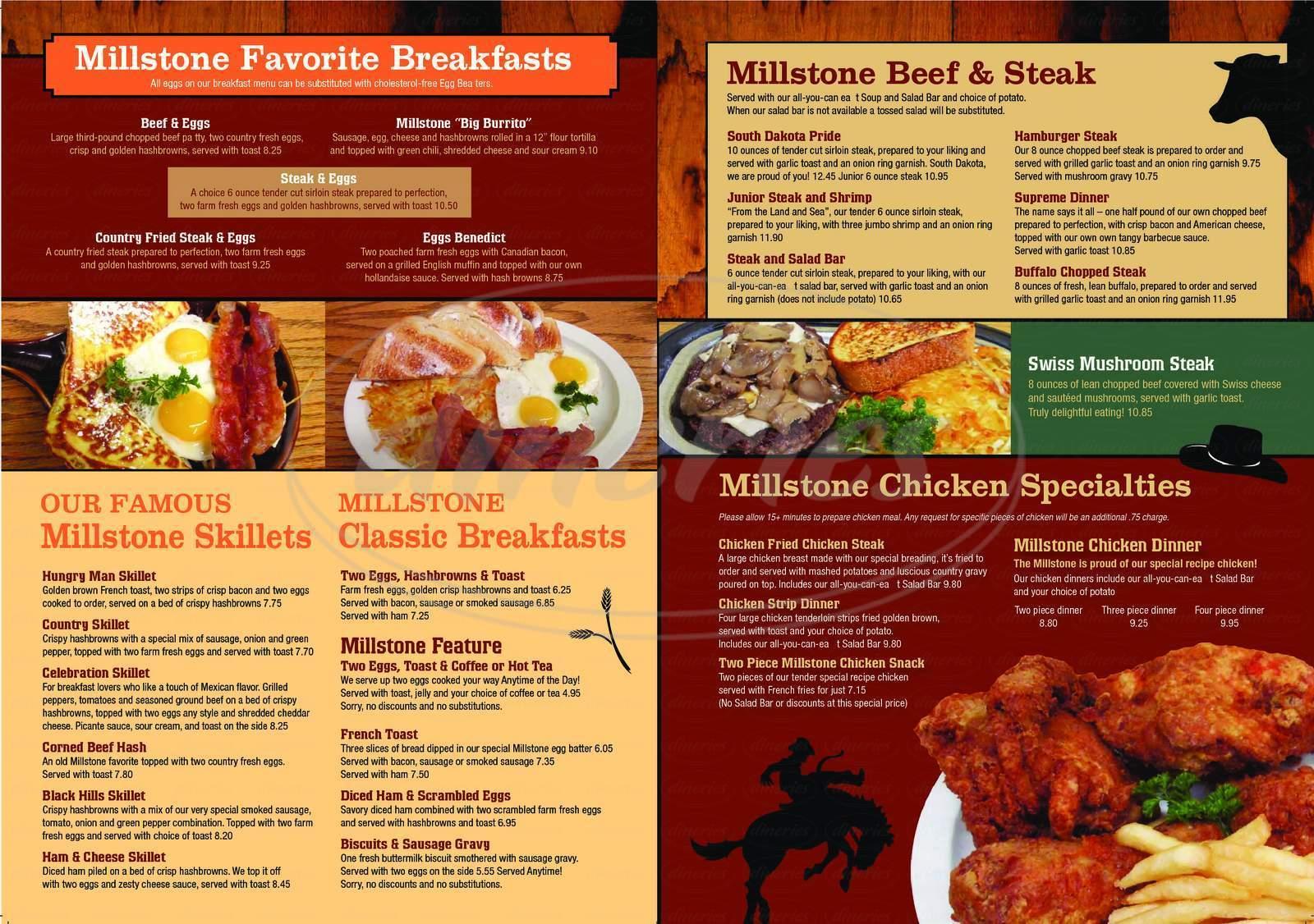 menu for Millstone Family Restaurant the