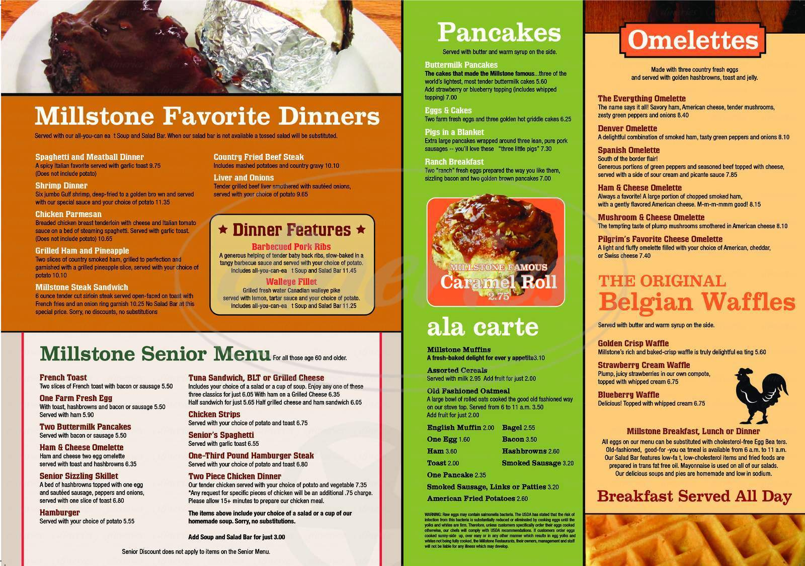menu for Millstone Family Restaurant the