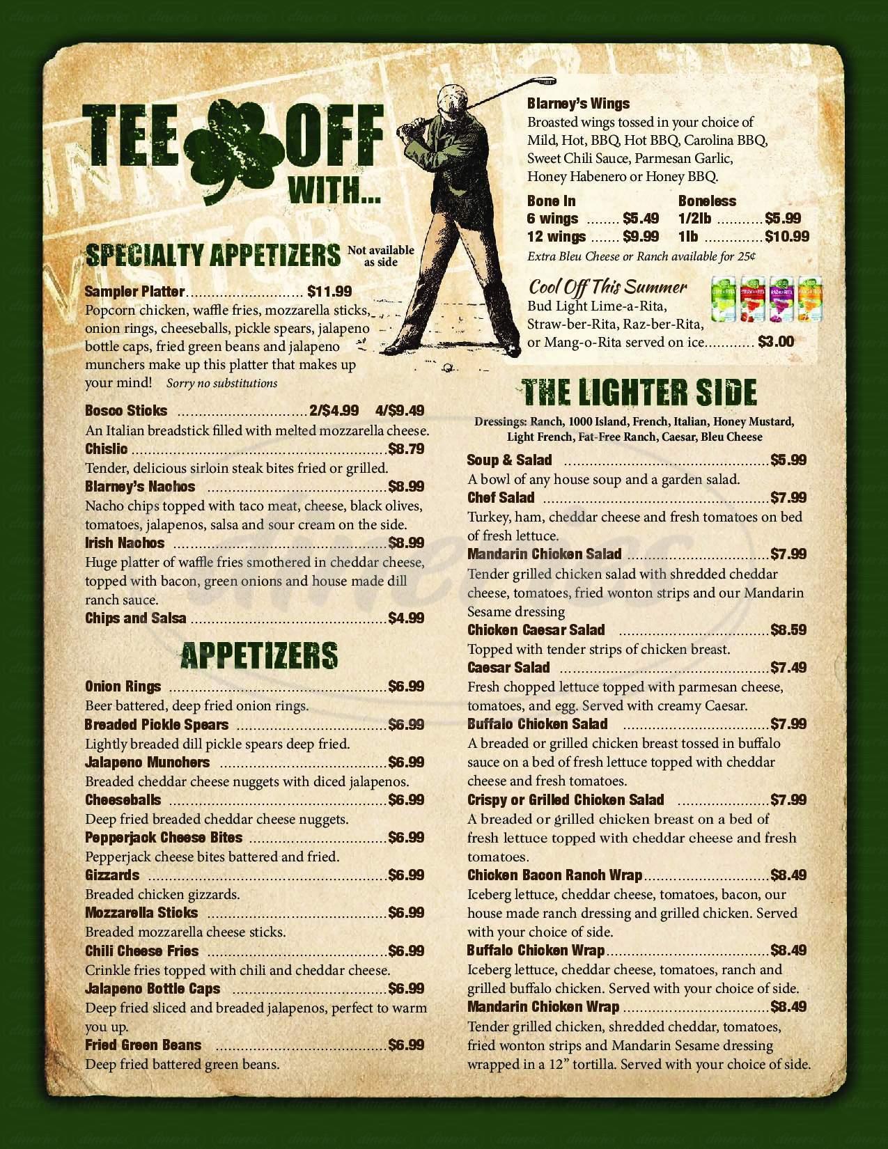 menu for Blarney's Sportsbar and Grill