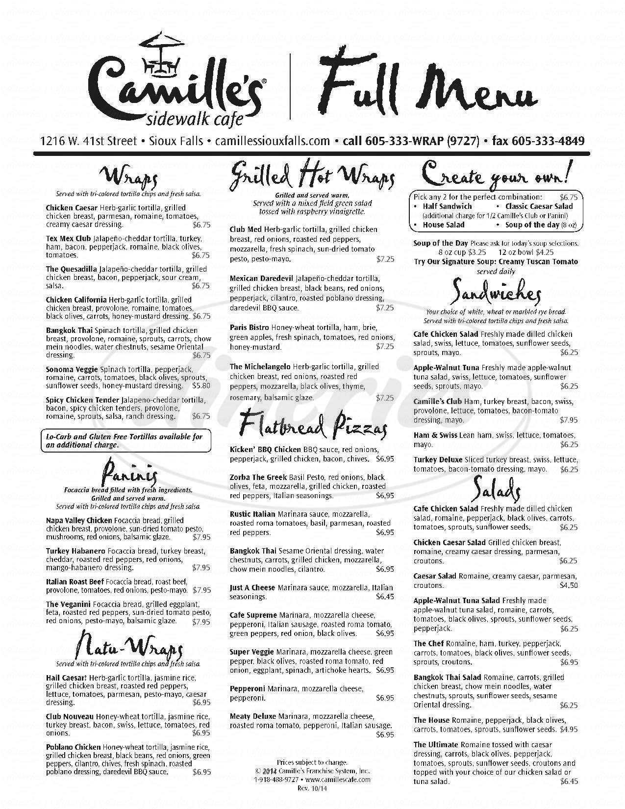menu for Camille's Sidewalk Cafe
