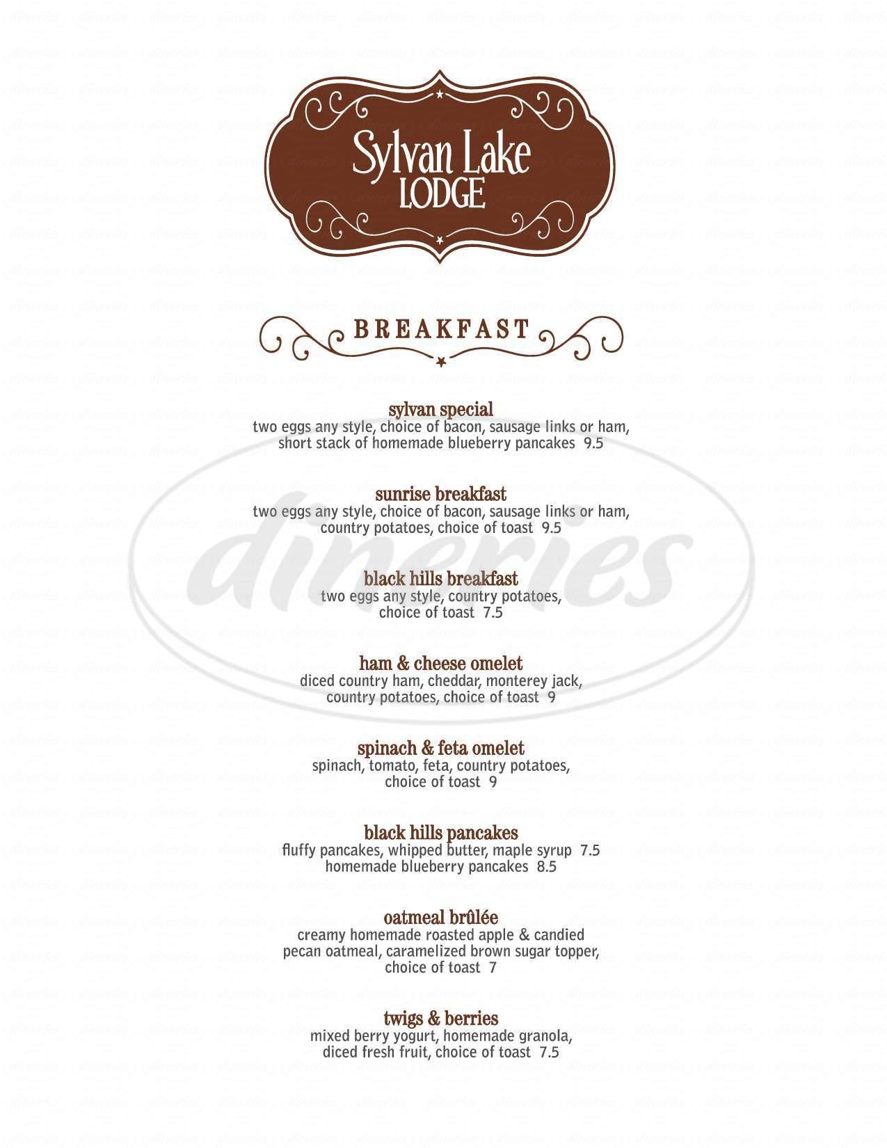 menu for Sylvan Lake Lodge Restaurant