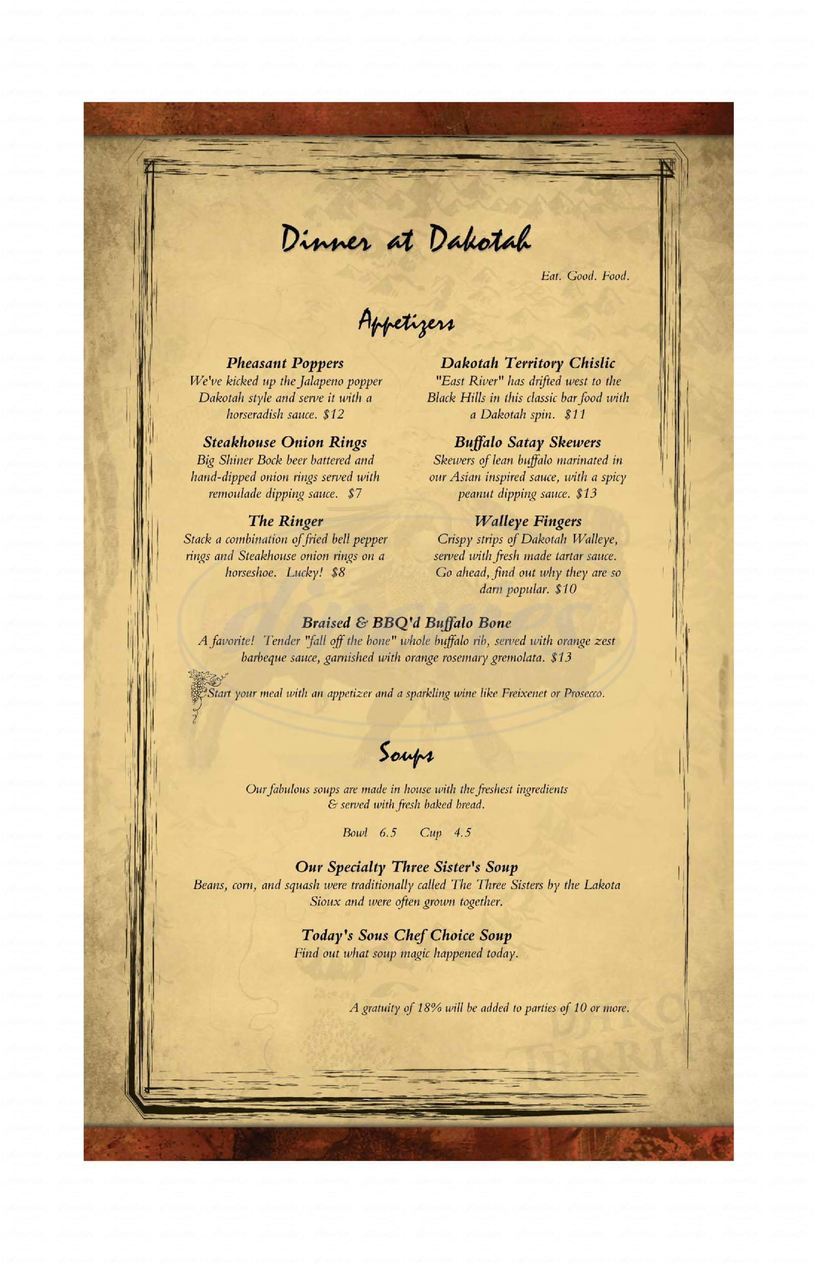 menu for Dakotah Steakhouse