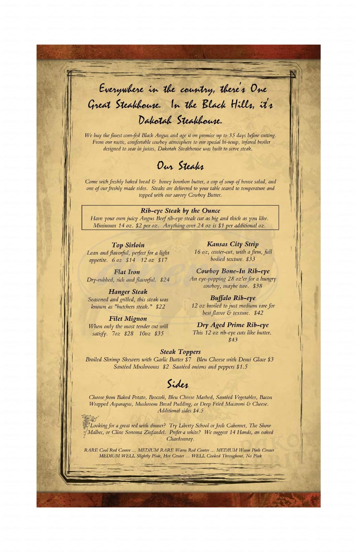 menu for Dakotah Steakhouse