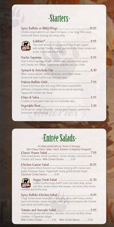menu for Grizzly Creek Restaurant