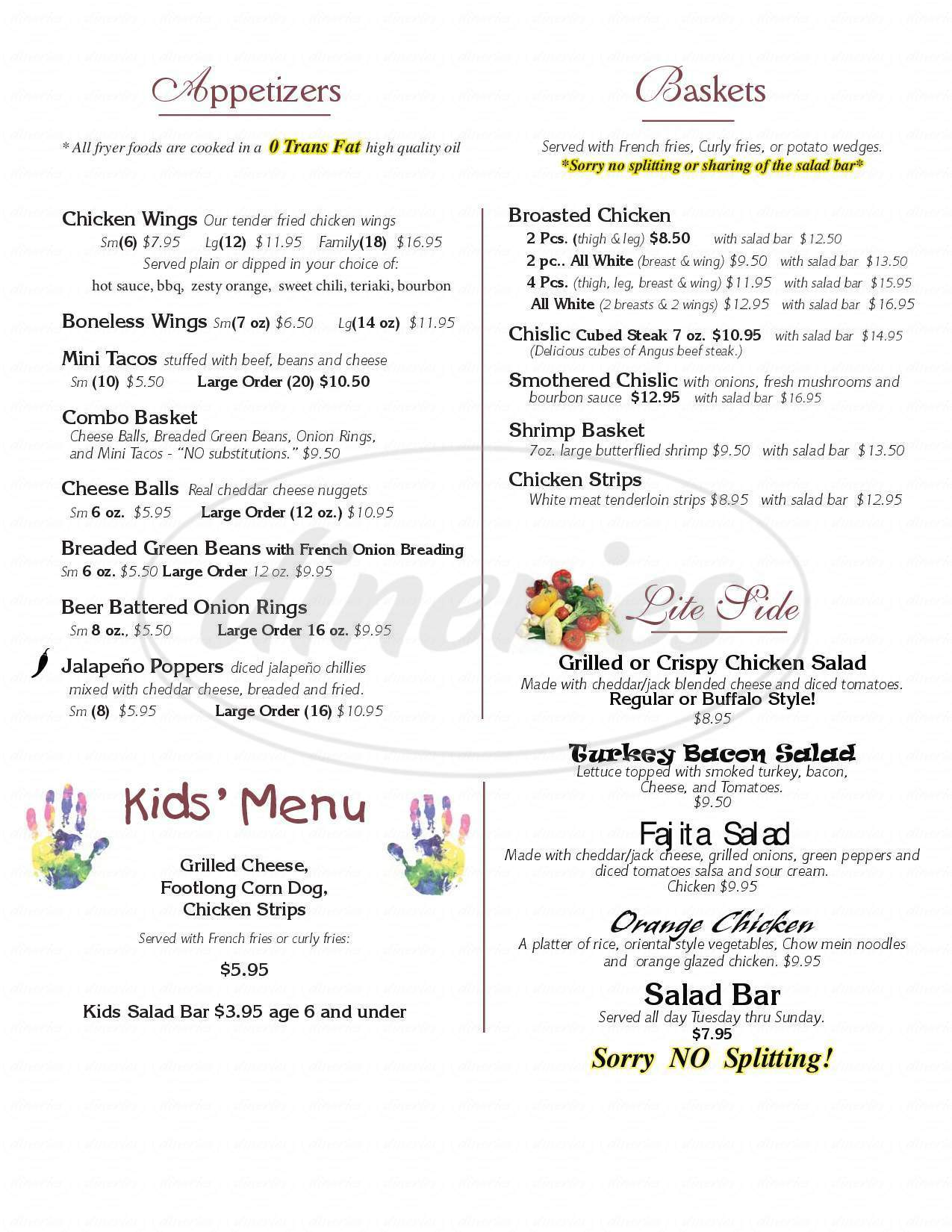 menu for Hillside Resort