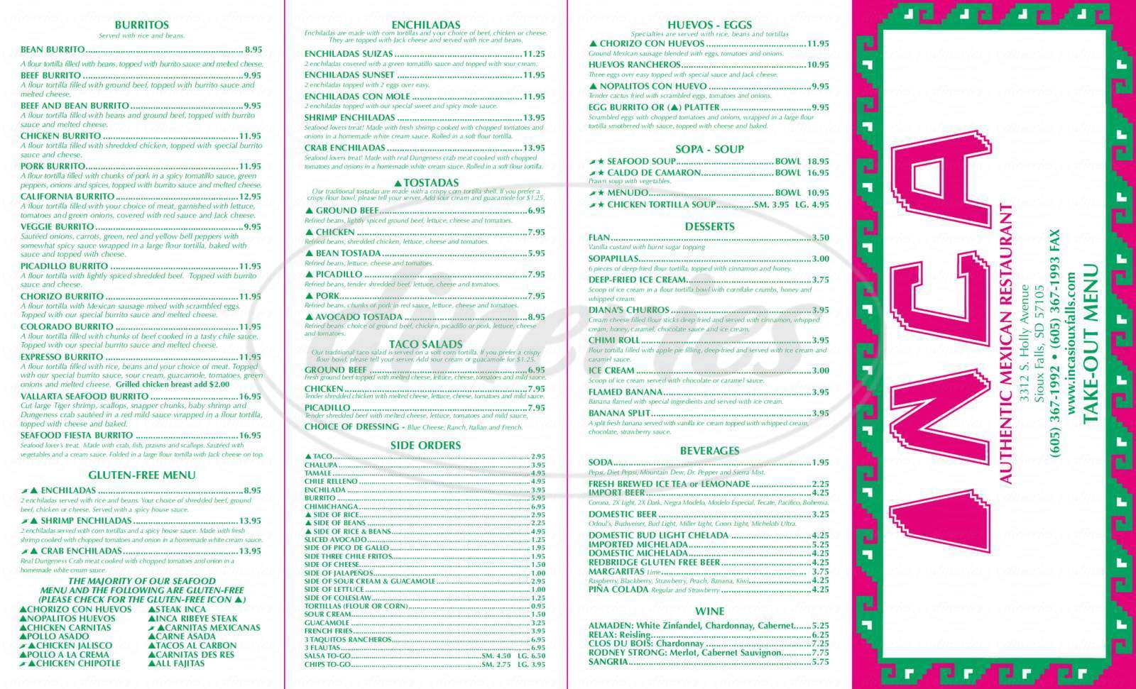 menu for Inca Mexican Restaurant