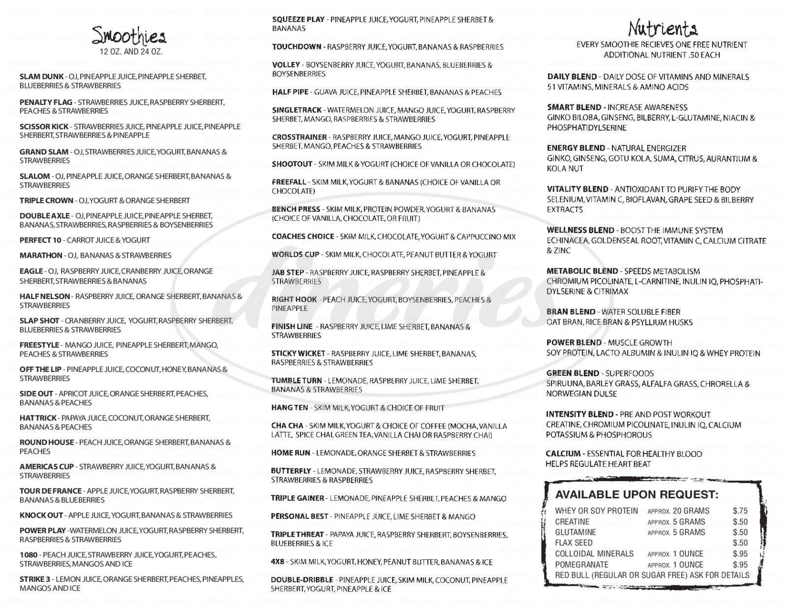 menu for Juice Stop