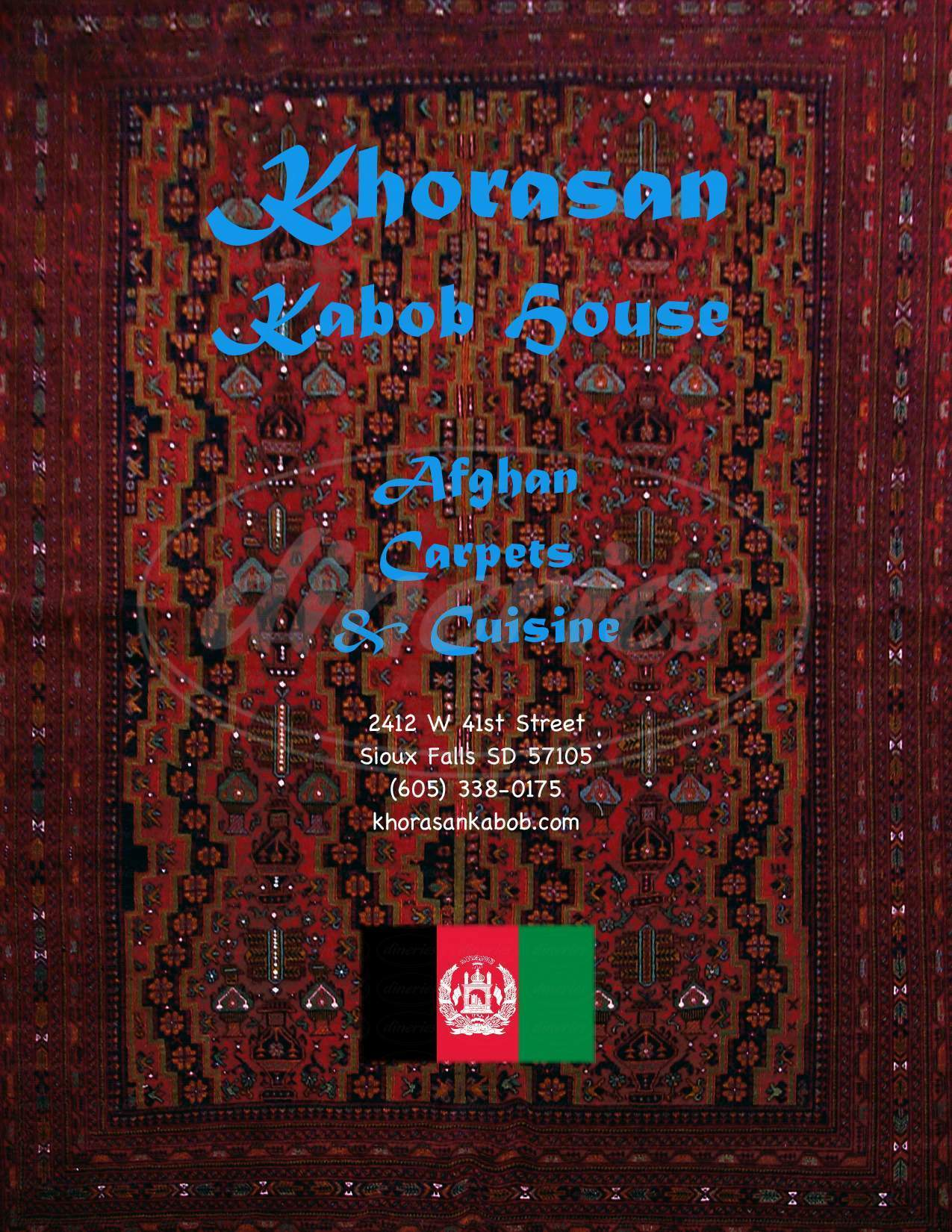 menu for Khorasan Kebab House