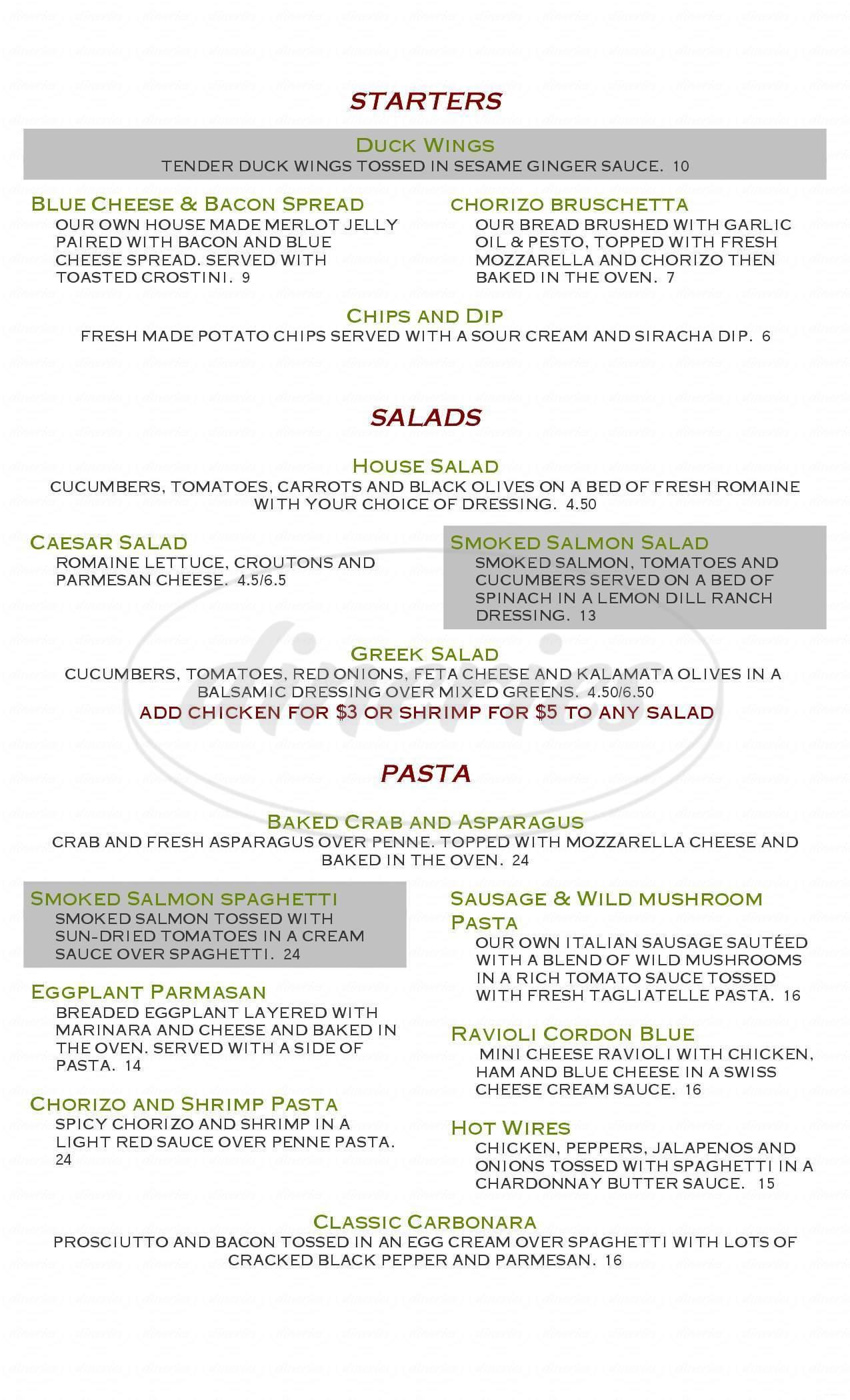 menu for La Minestra