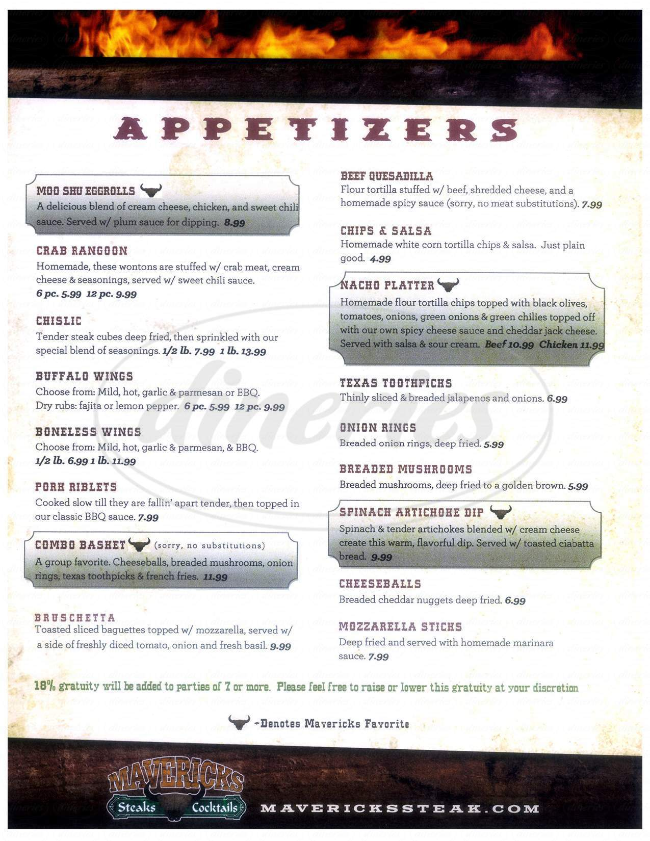 menu for Maverick's Steak and Cocktails