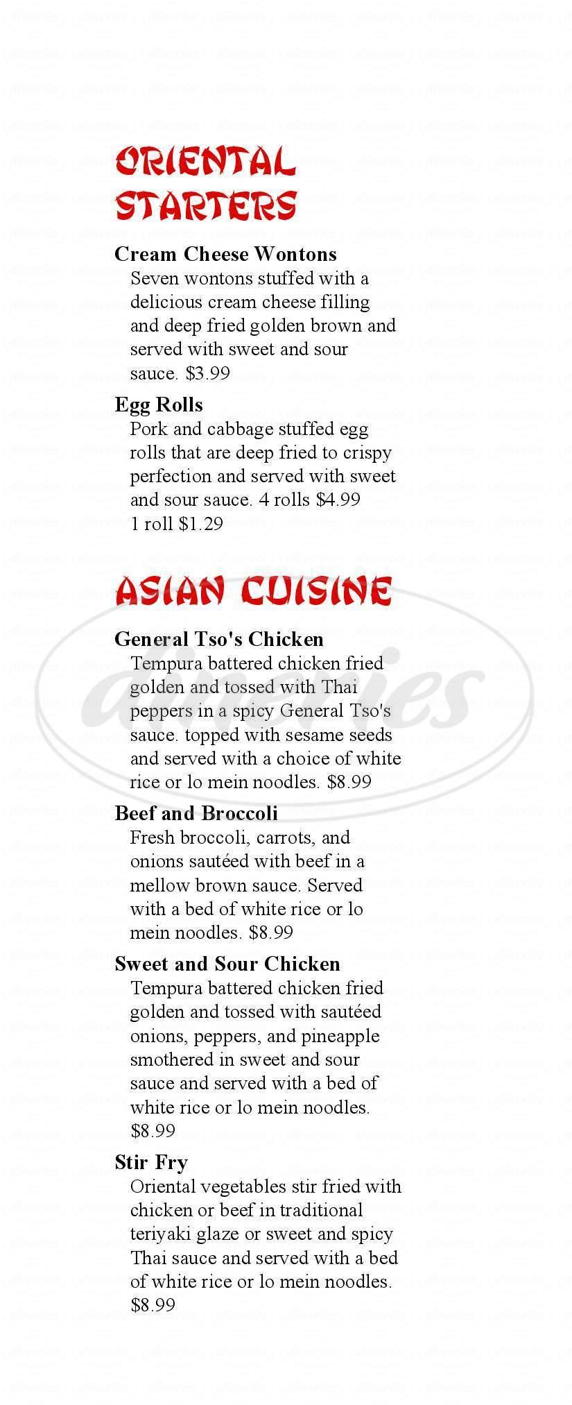 menu for Millstone Family Restaurant