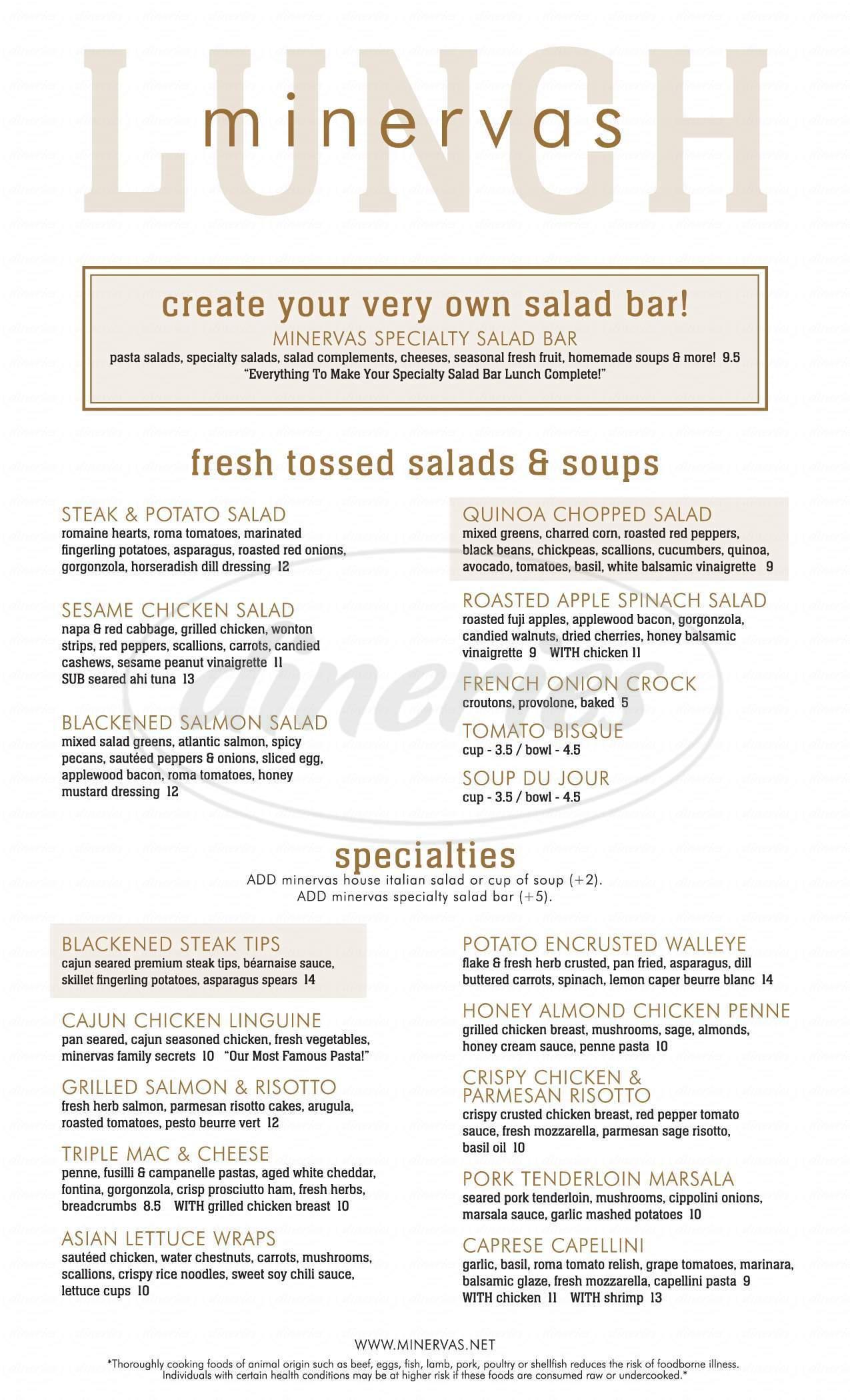 menu for Minervas Restaurant & Bar