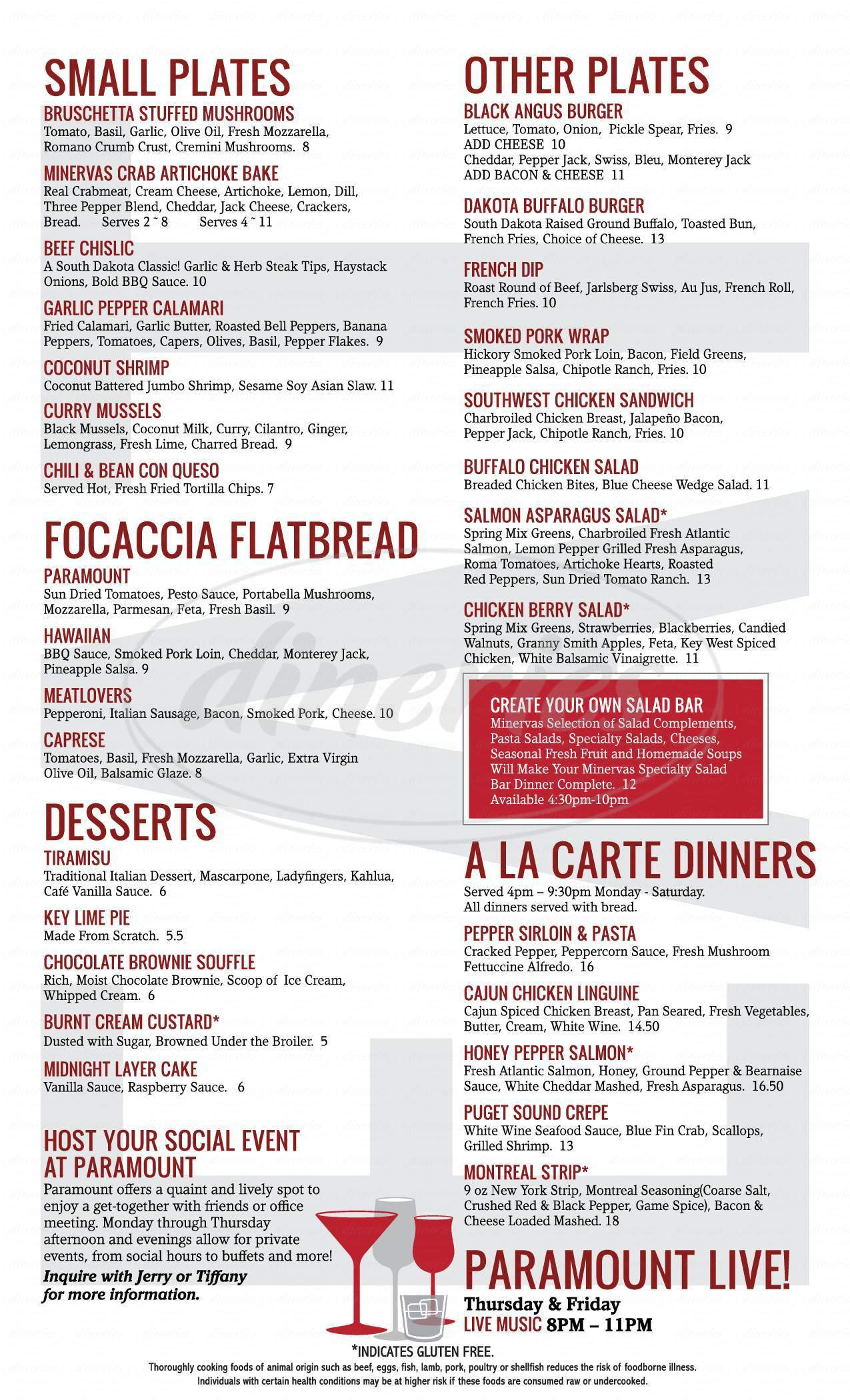 menu for Paramount Cocktails & Food