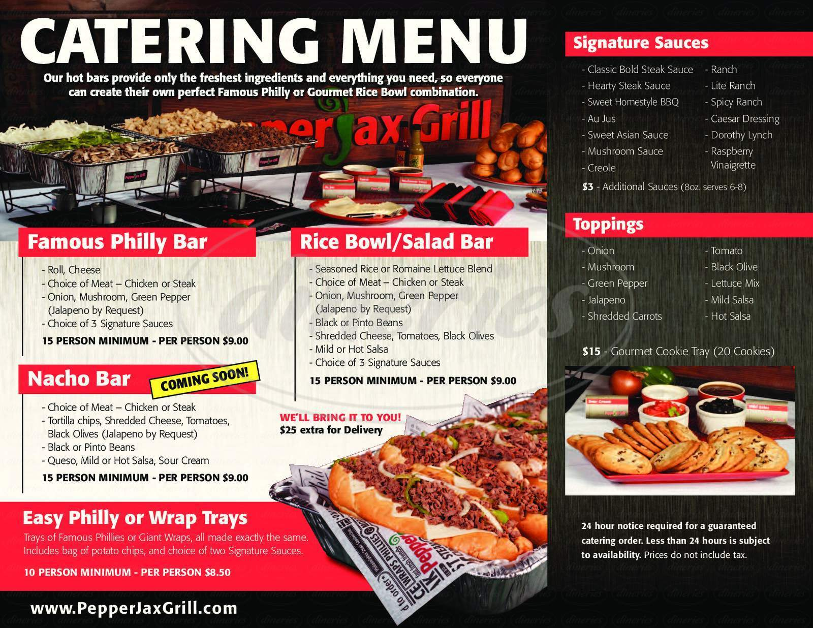 menu for PepperJax Grill