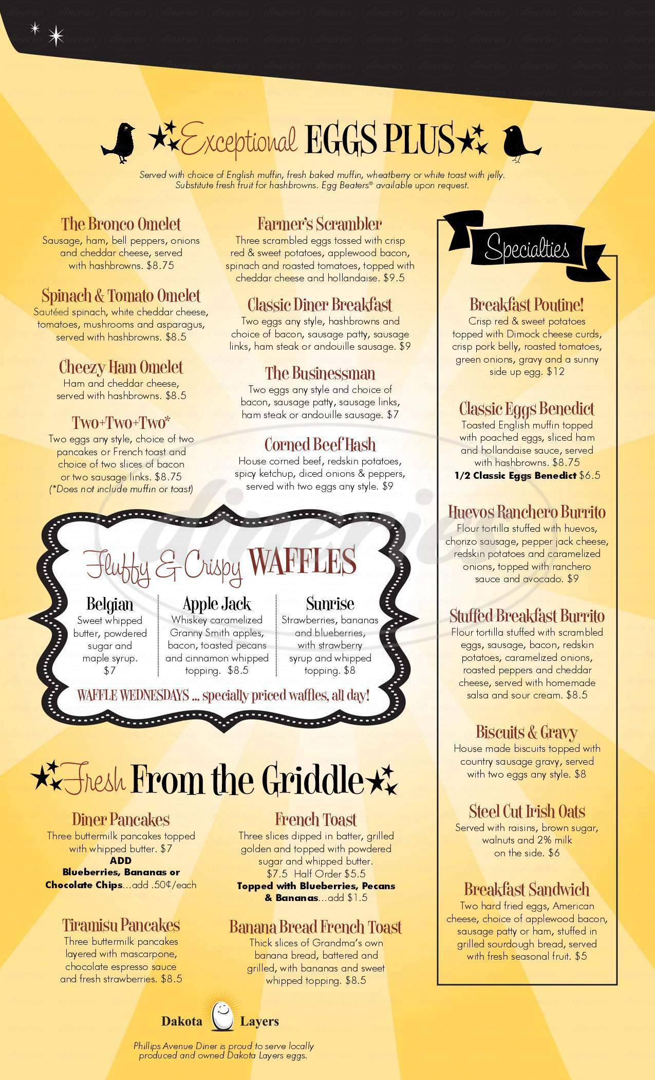 menu for Phillips Avenue Diner