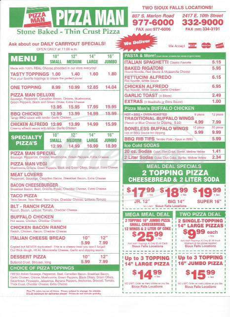 menu for Pizza Man