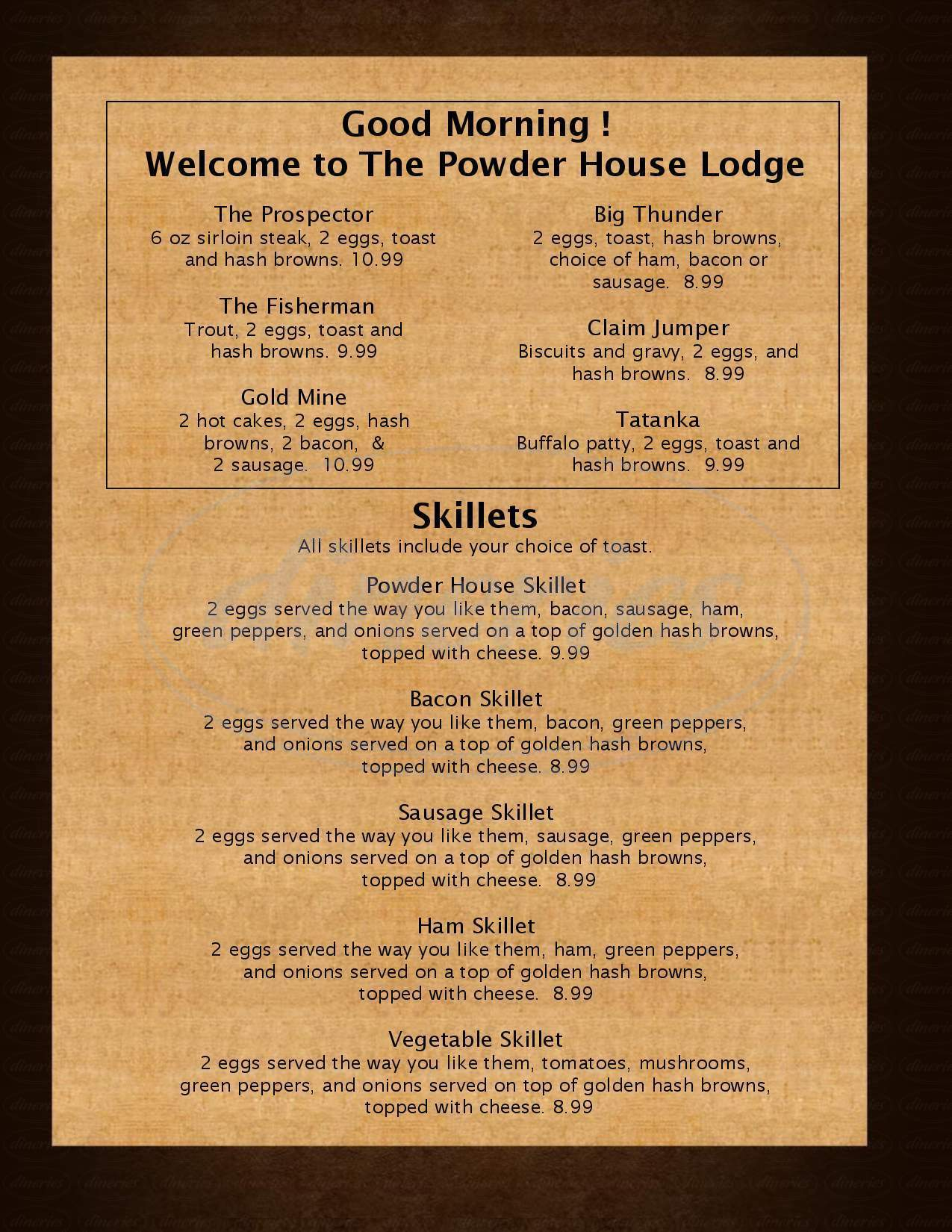menu for Powder House Restaurant