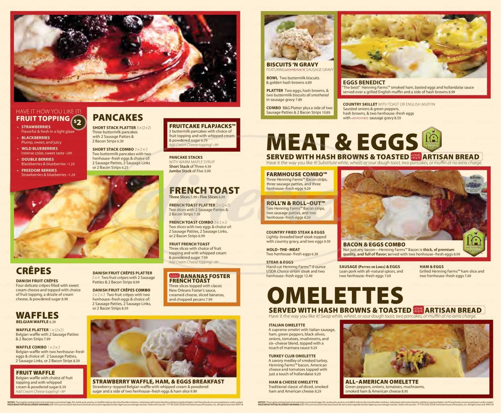 menu for Roll'n Pin
