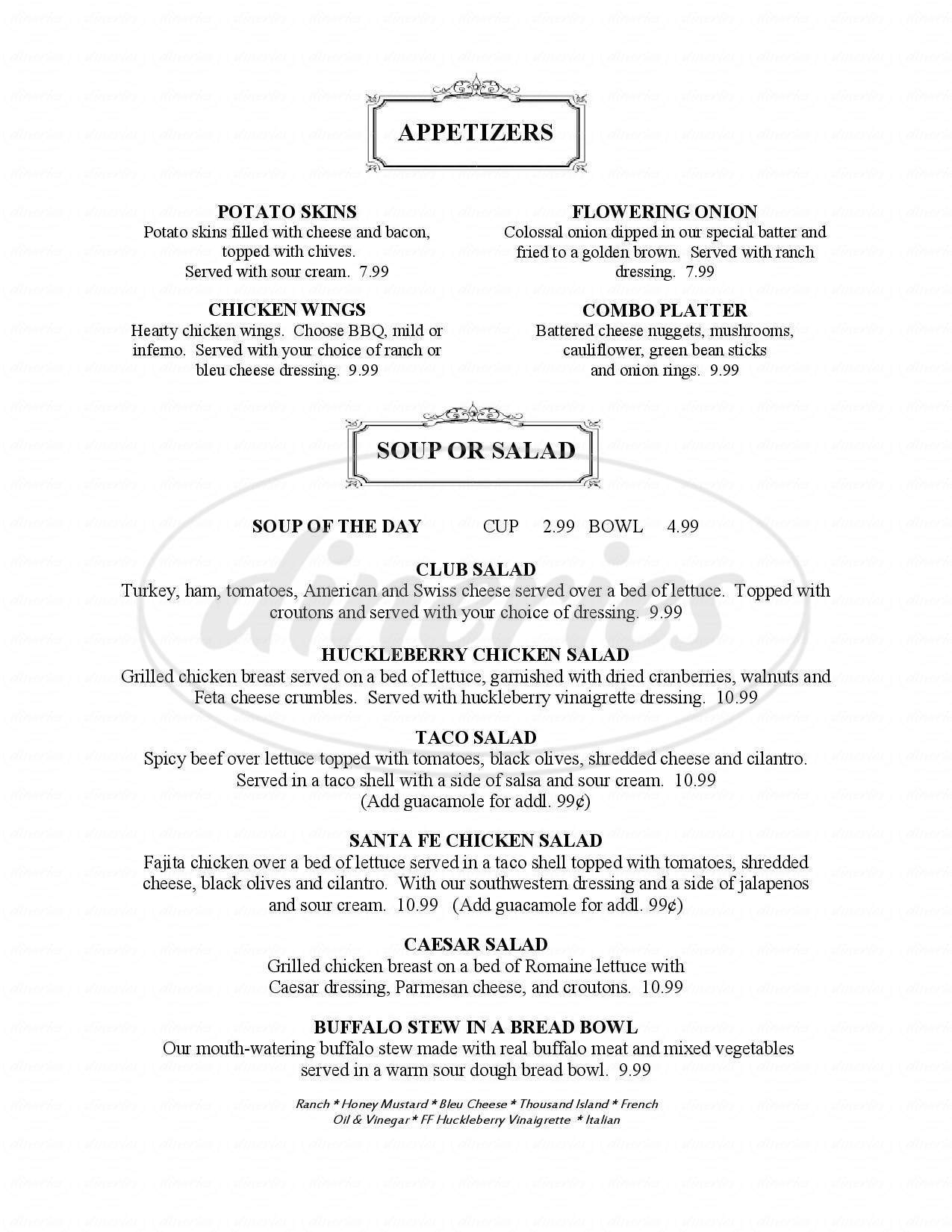 menu for Ruby House Restaurant