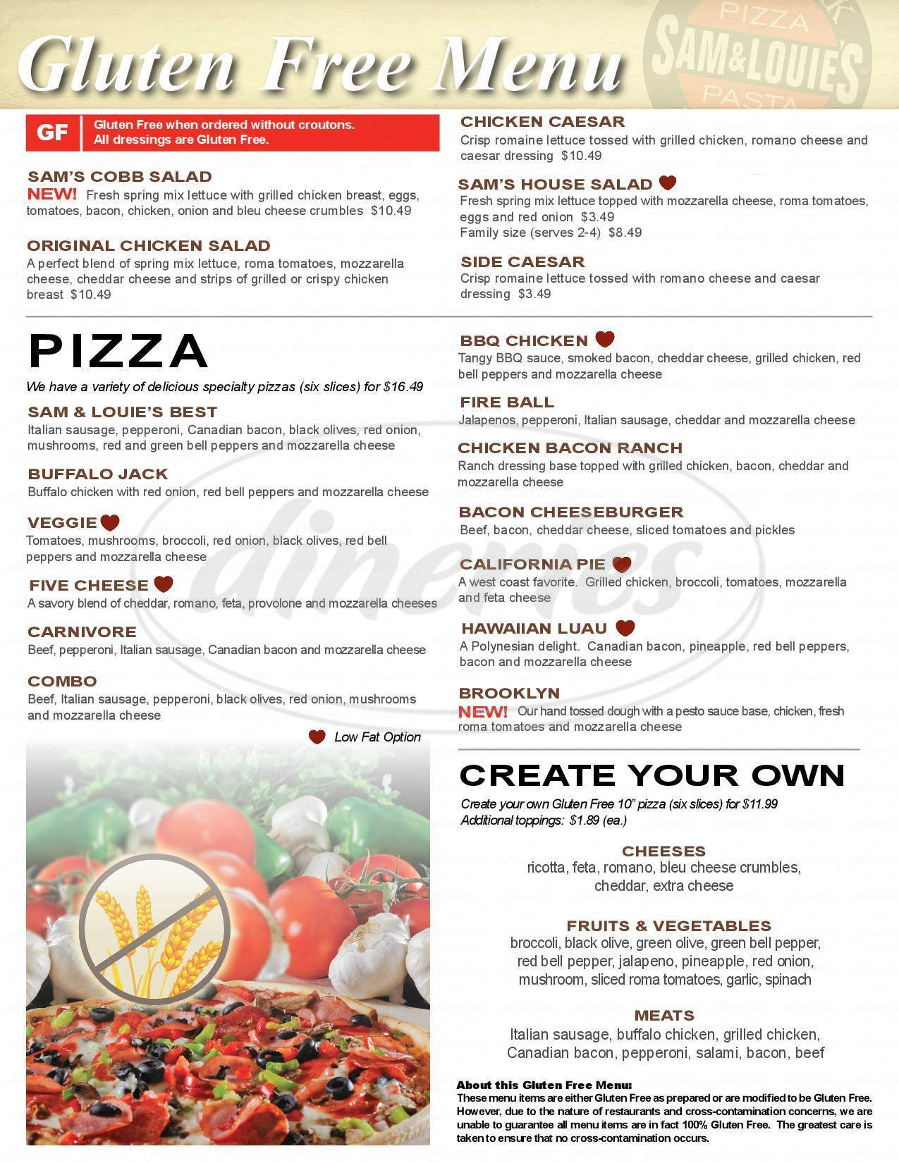 menu for Sam and Louie's Pizza