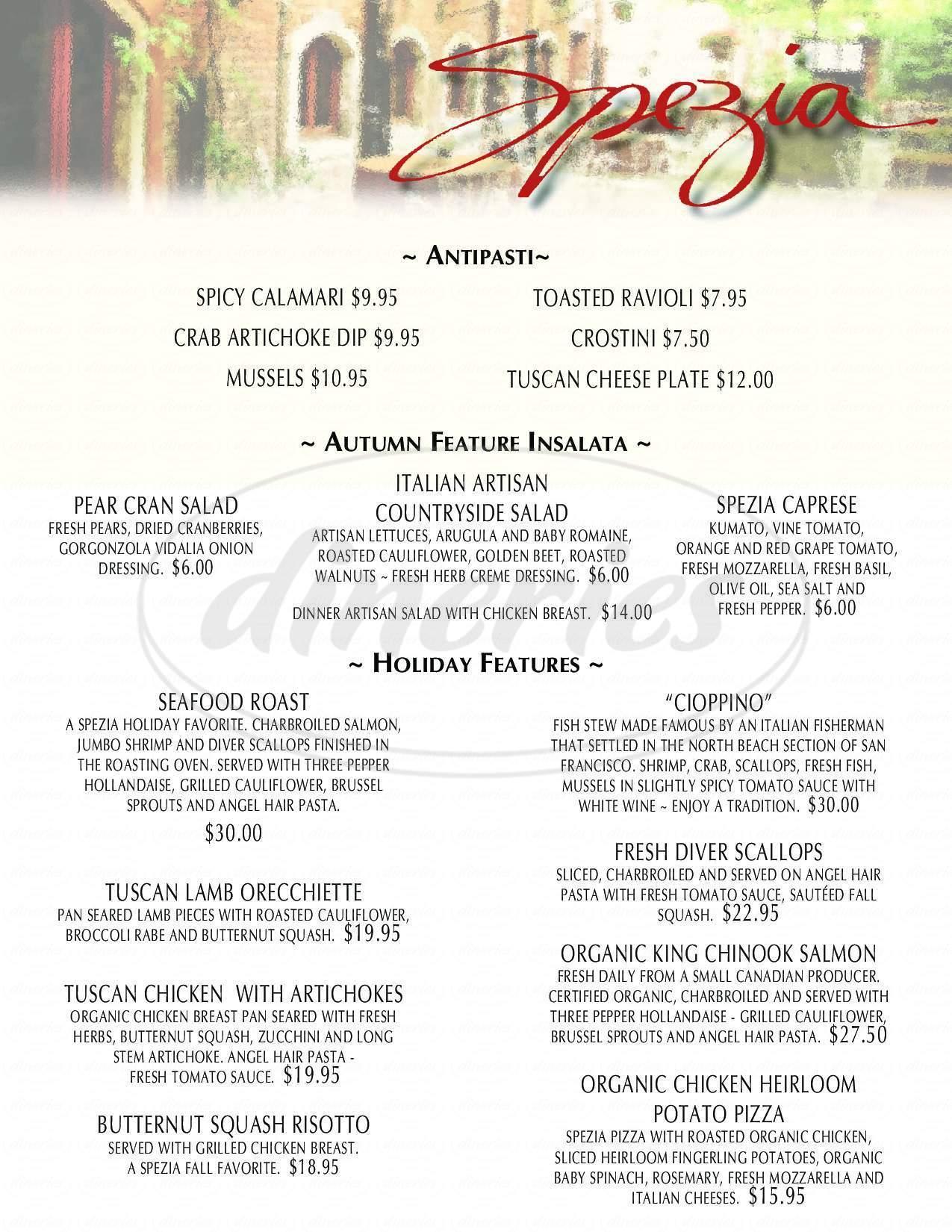 menu for Spezia