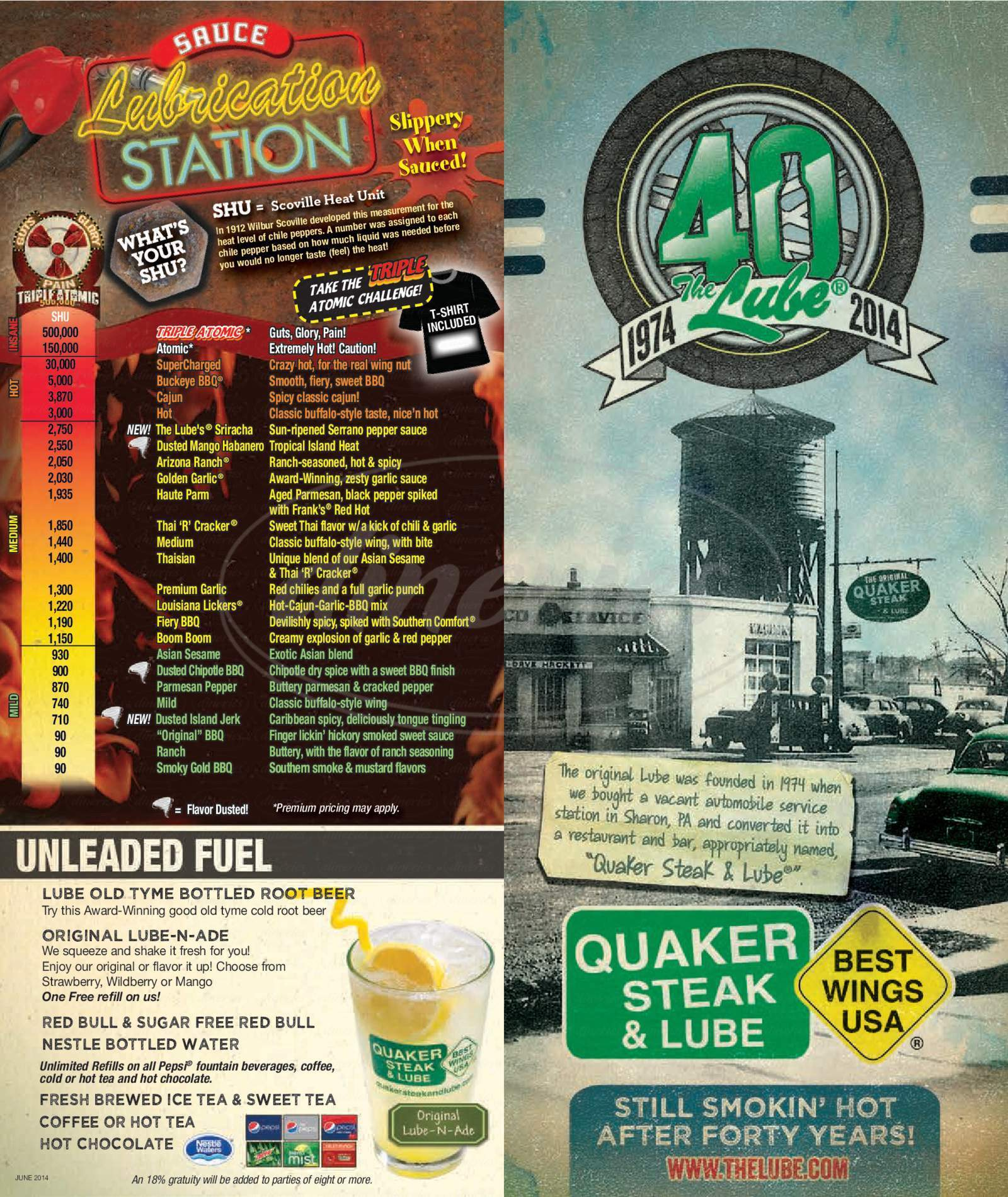 menu for Quaker Steak & Lube