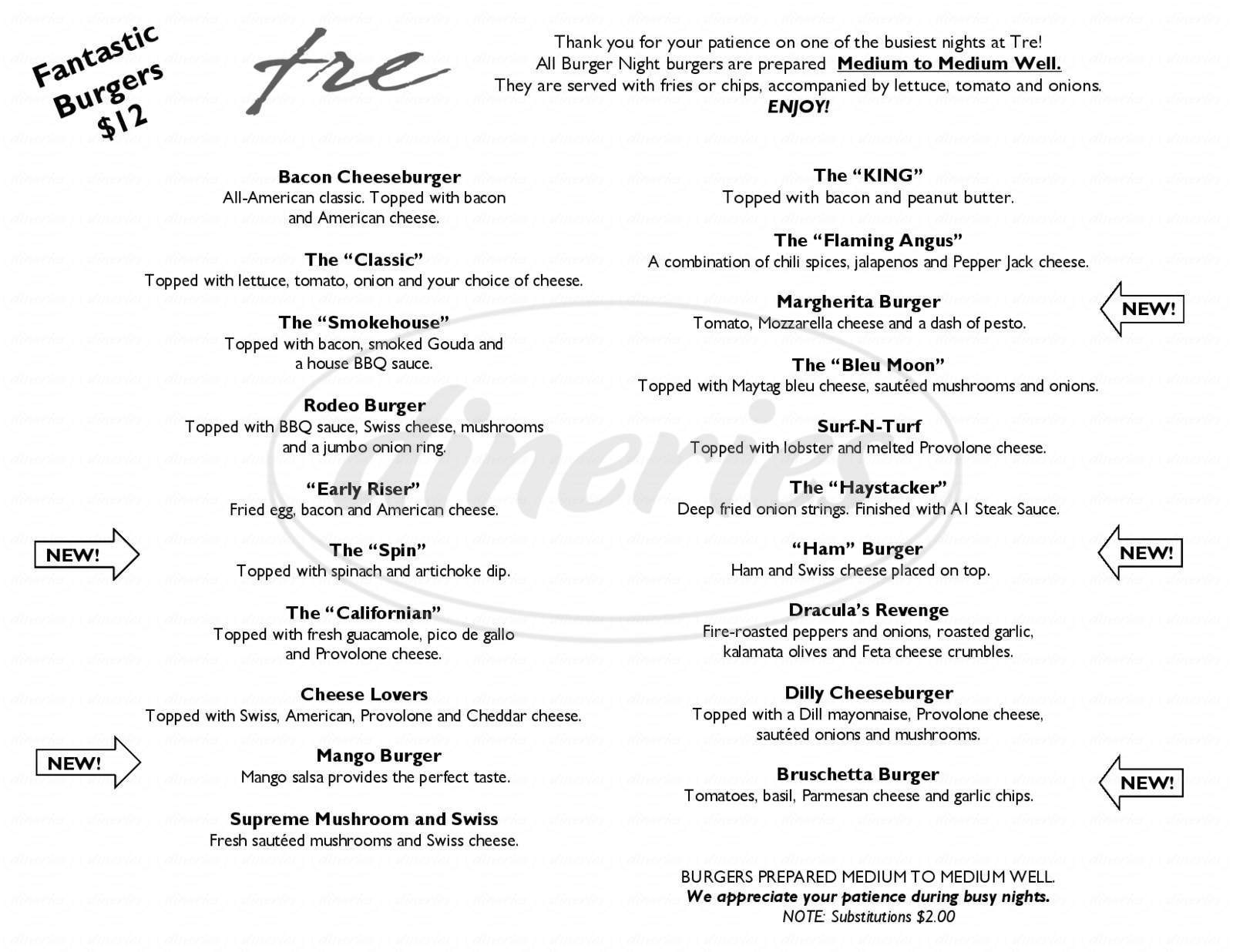 menu for Tre