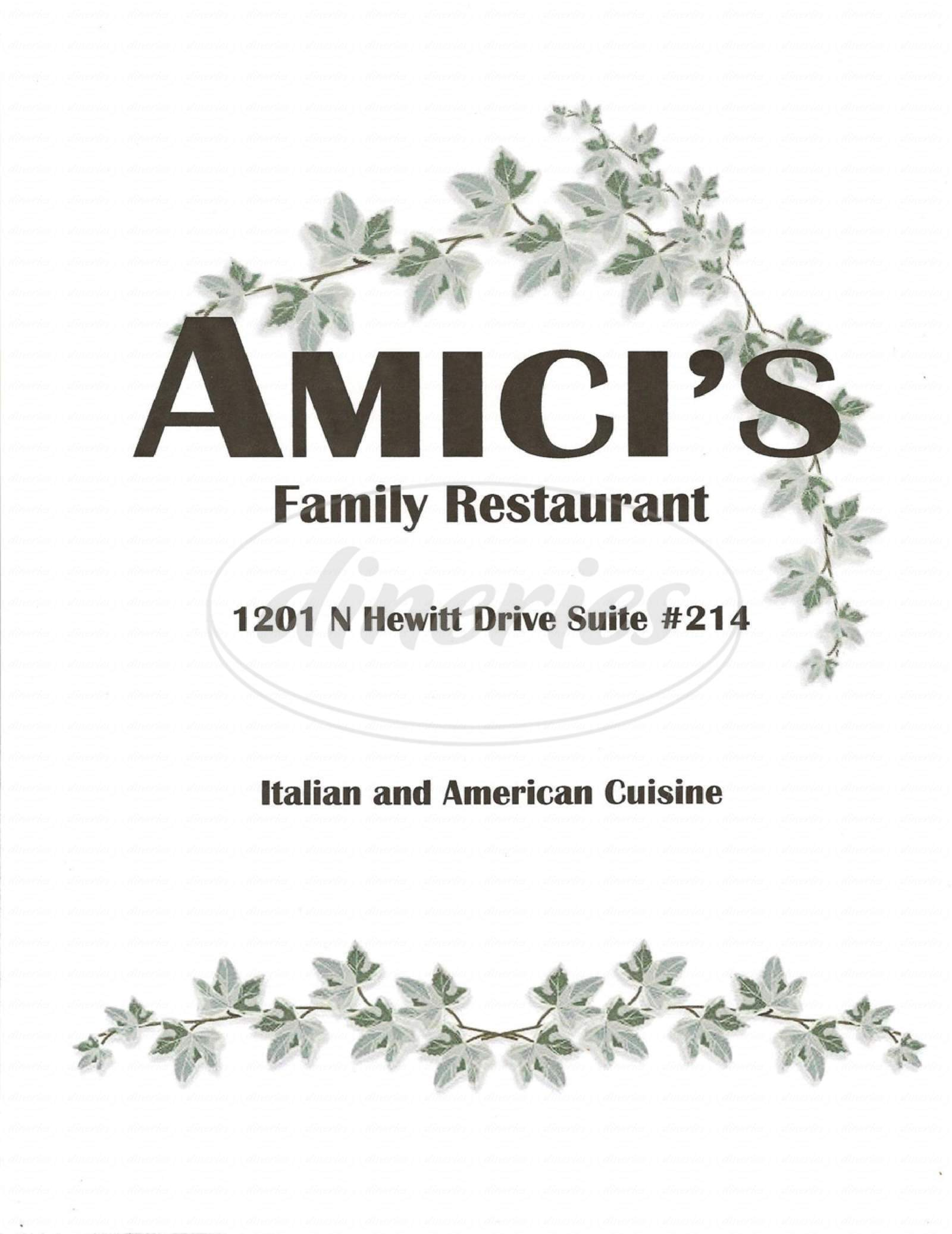 menu for Amici's Family Restaurant