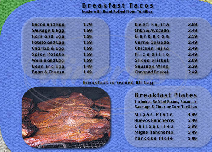 menu for Amigo's BBQ Grill