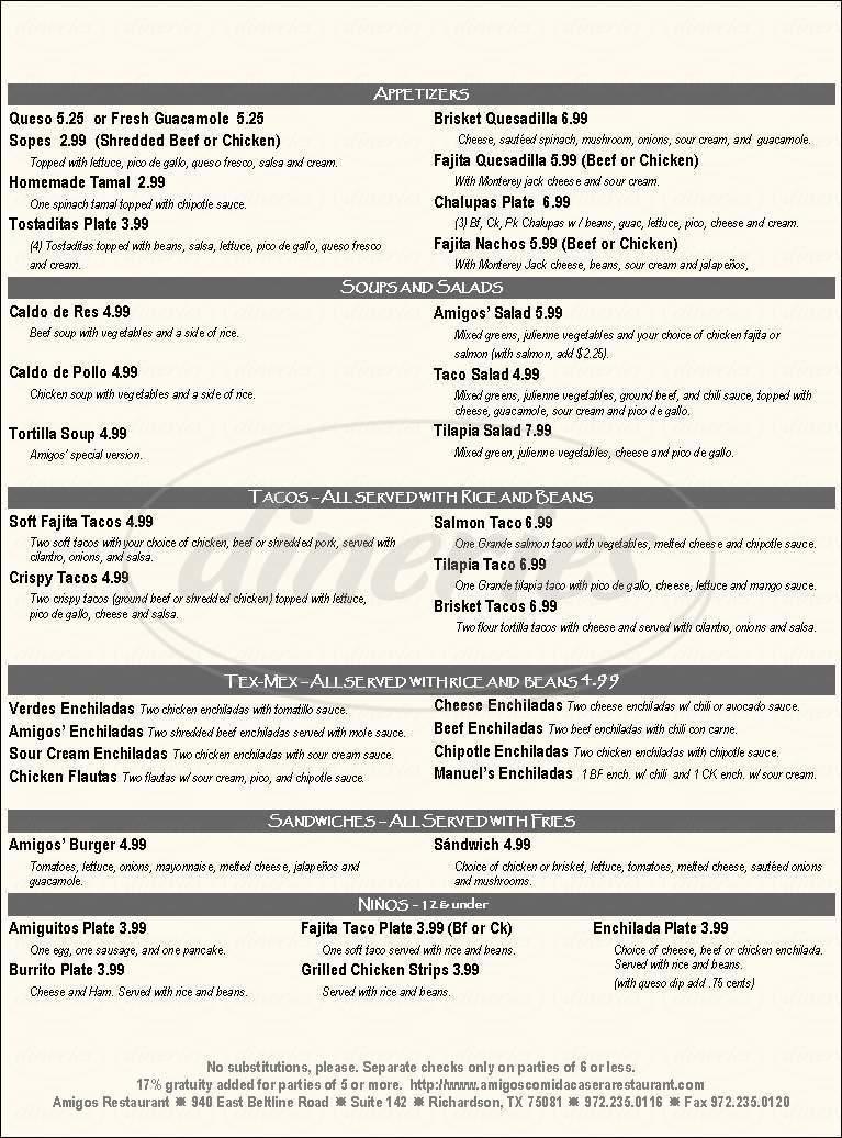 menu for Amigos