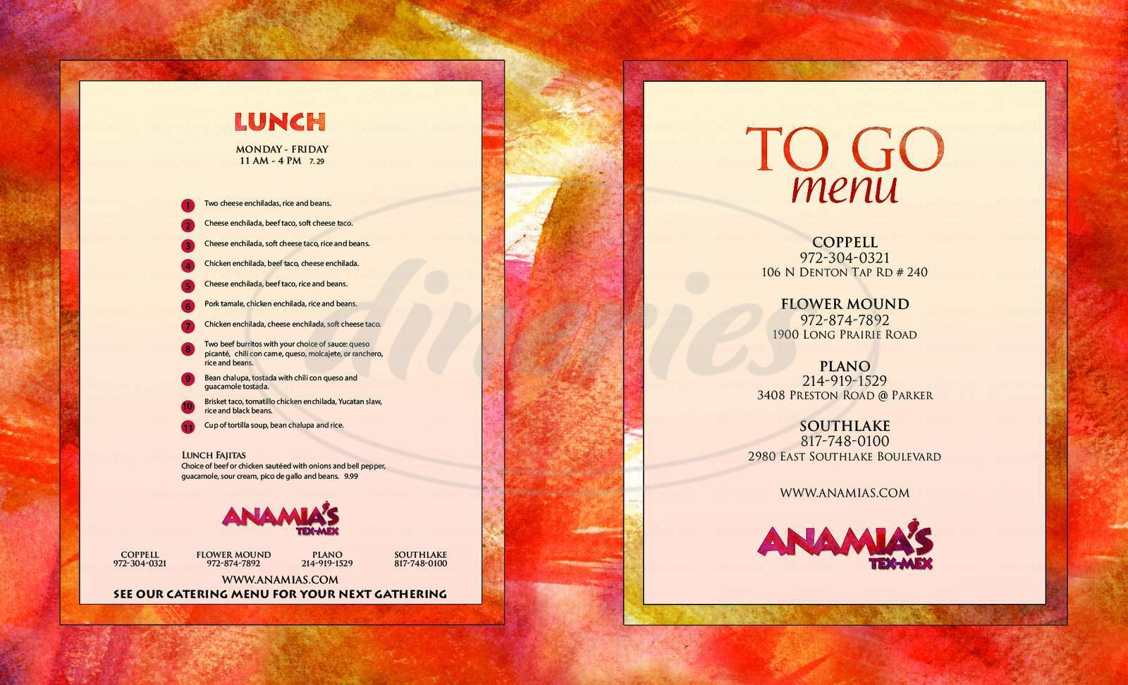 menu for Anamia's Tex Mex Restaurant