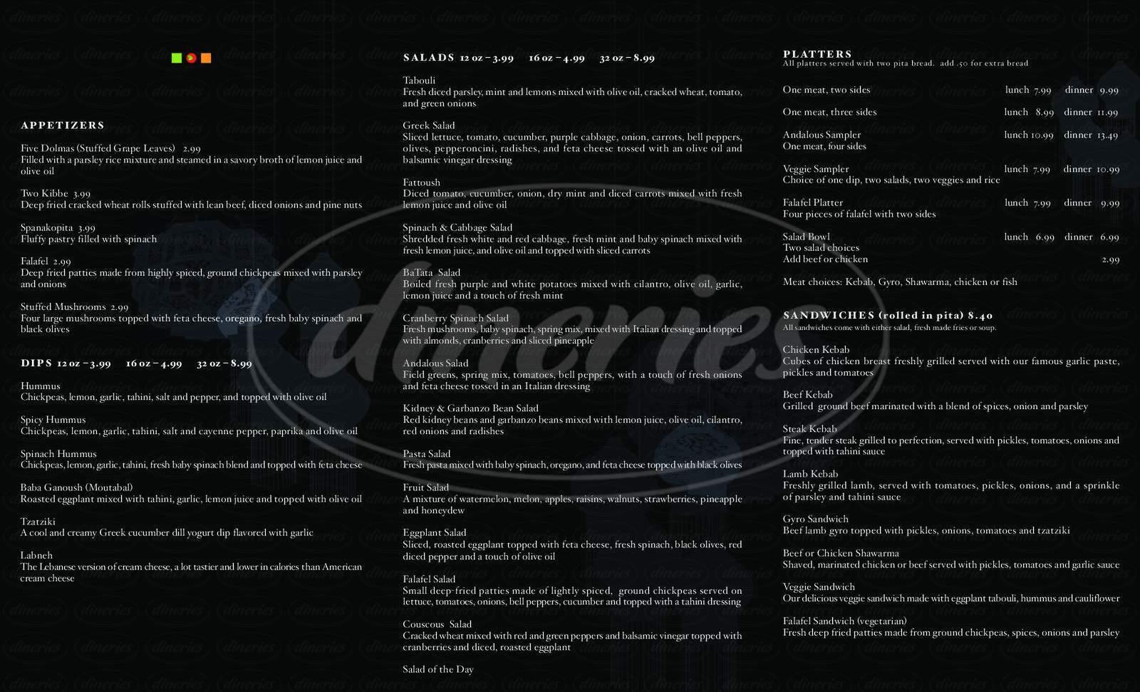 menu for Andalous Mediterranean Grill
