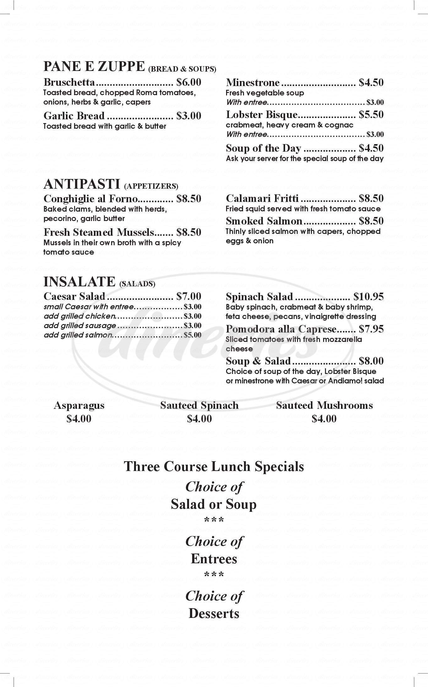 menu for Andiamo Italian Bar and Grill