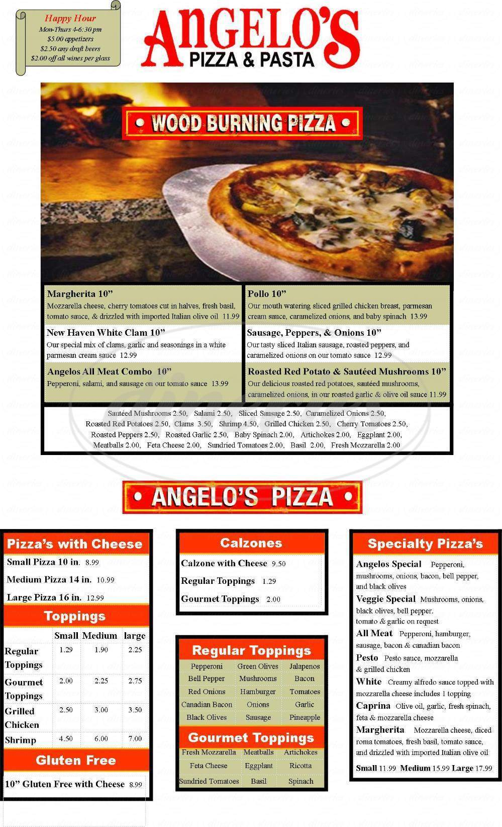 menu for Angelo's Pizza & Pasta