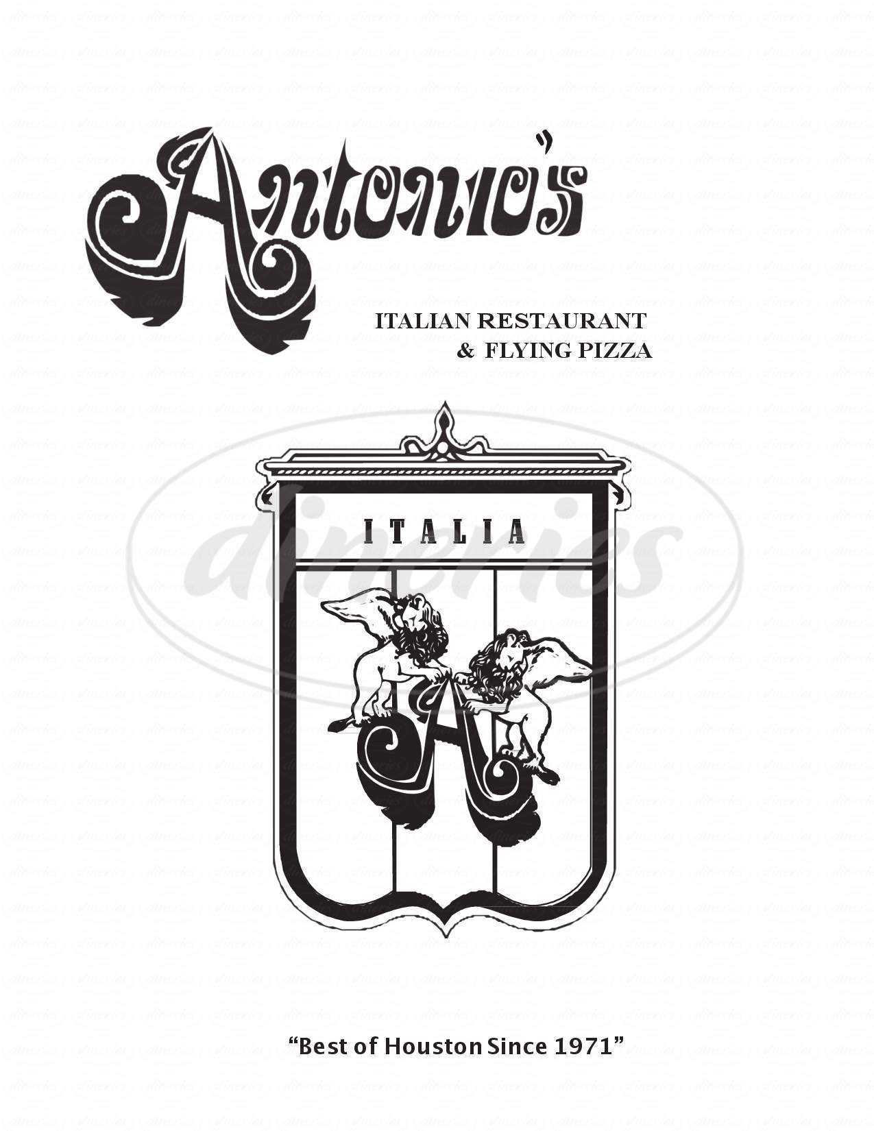menu for Antonio's Flying Pizza and Italian Restaurant