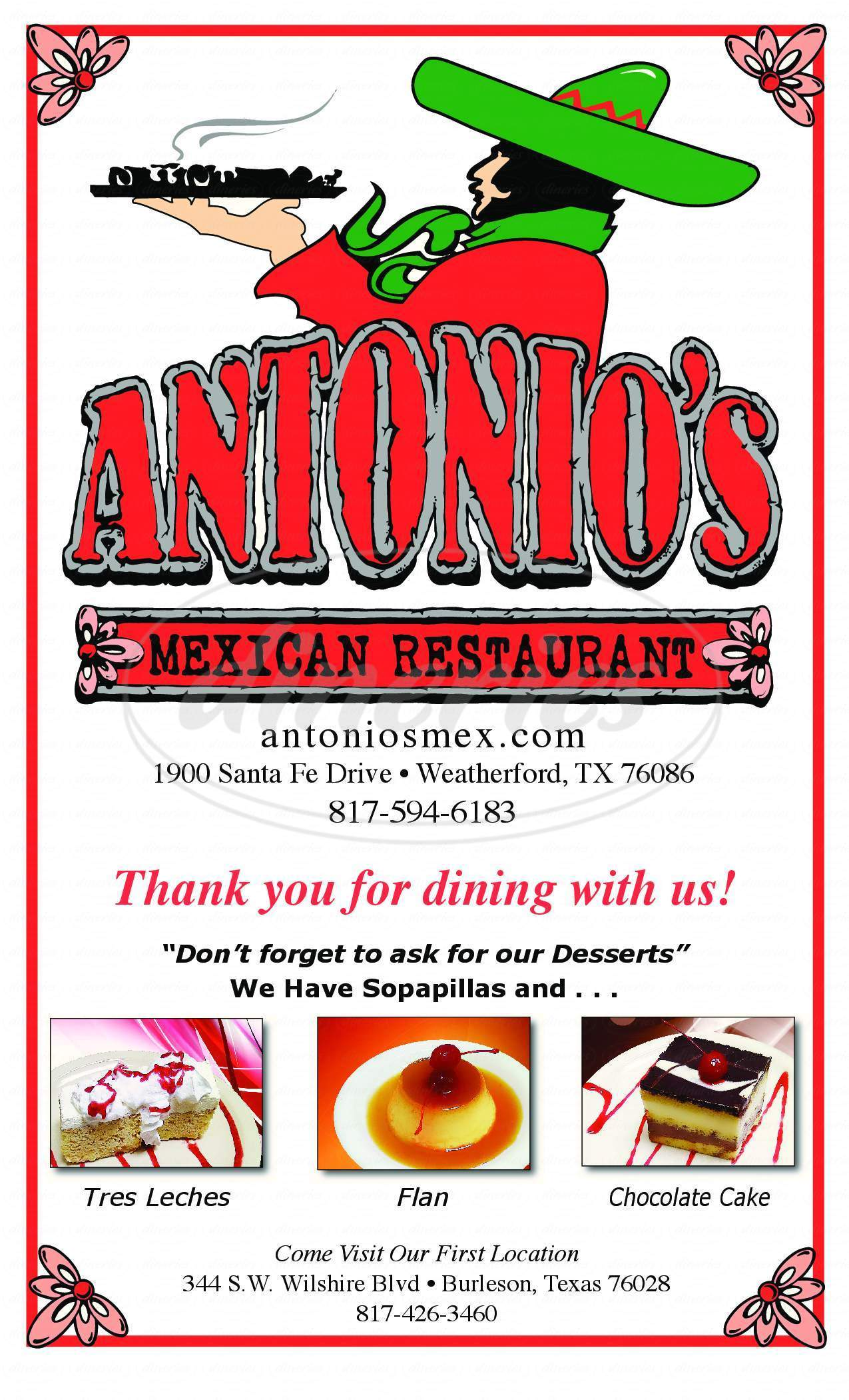 menu for Antonio's