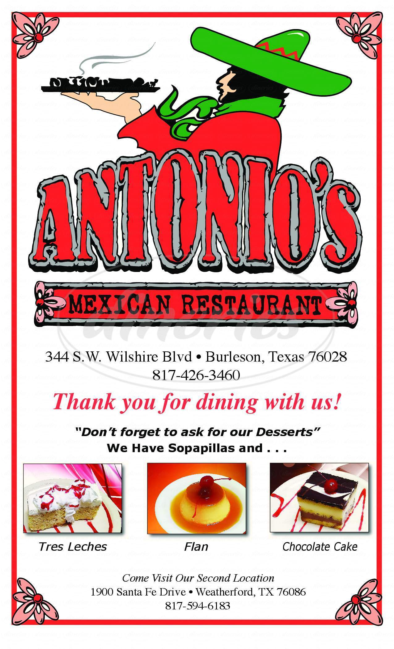 menu for Antonio's Mexican Restaurant