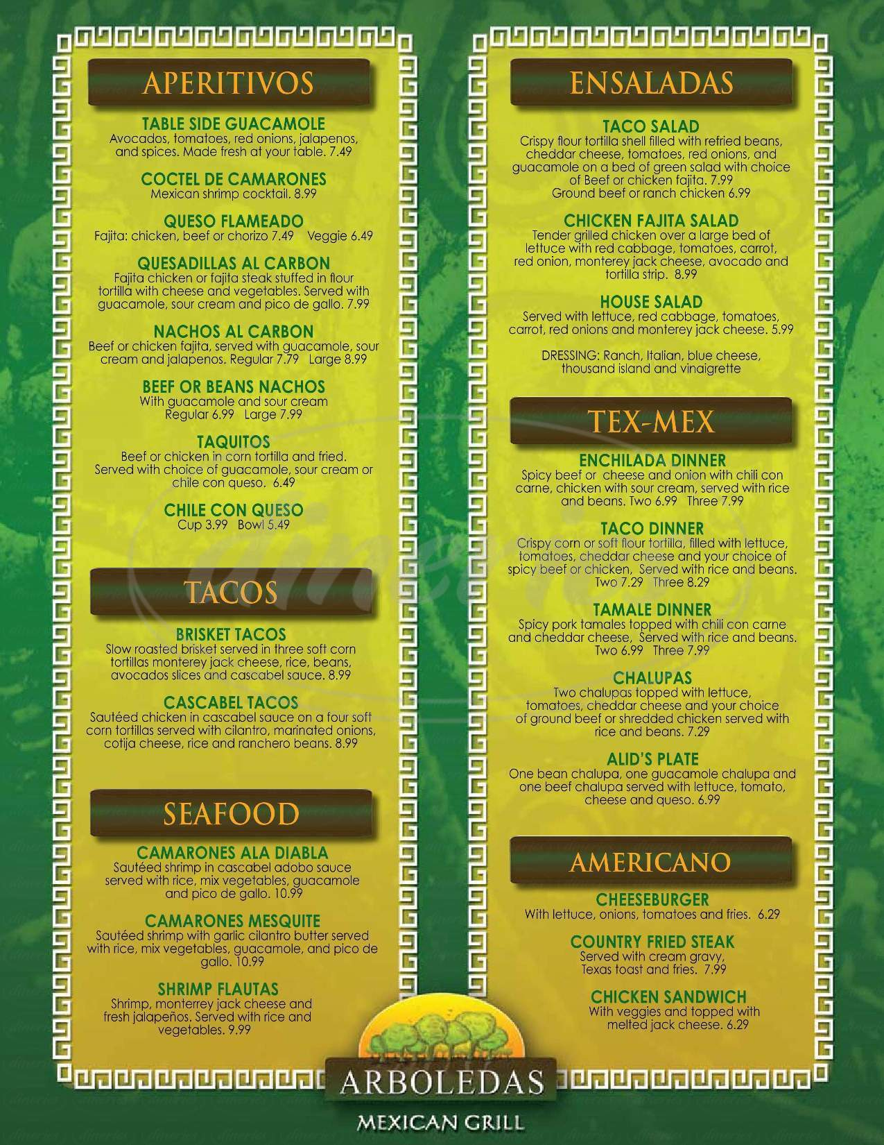 menu for Arboledas Mexican Grill